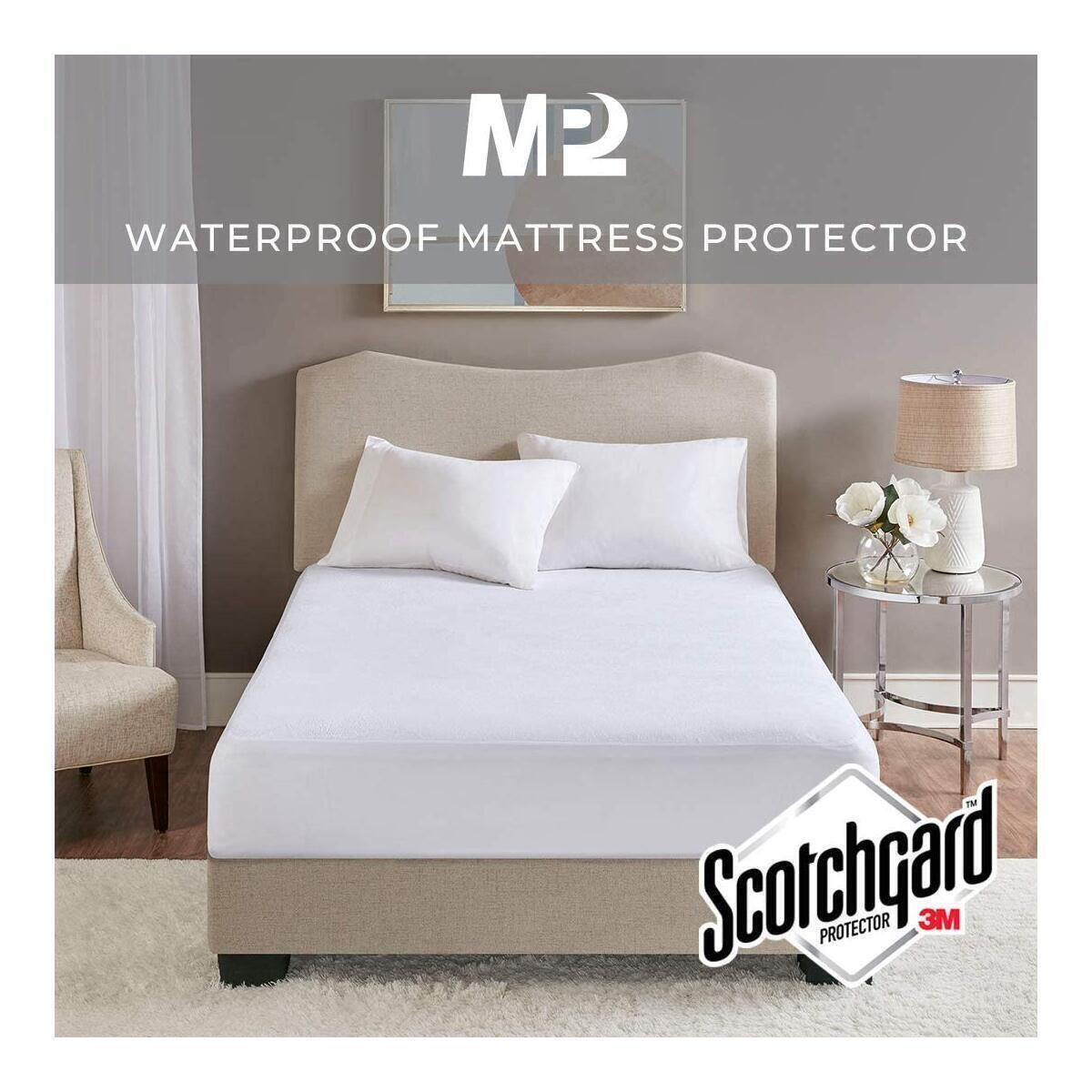 Waterproof Mattress Cover for Queen Size Bed, Breathable Protector Cooling Cotton Terry Deep Pocket - Fits 4