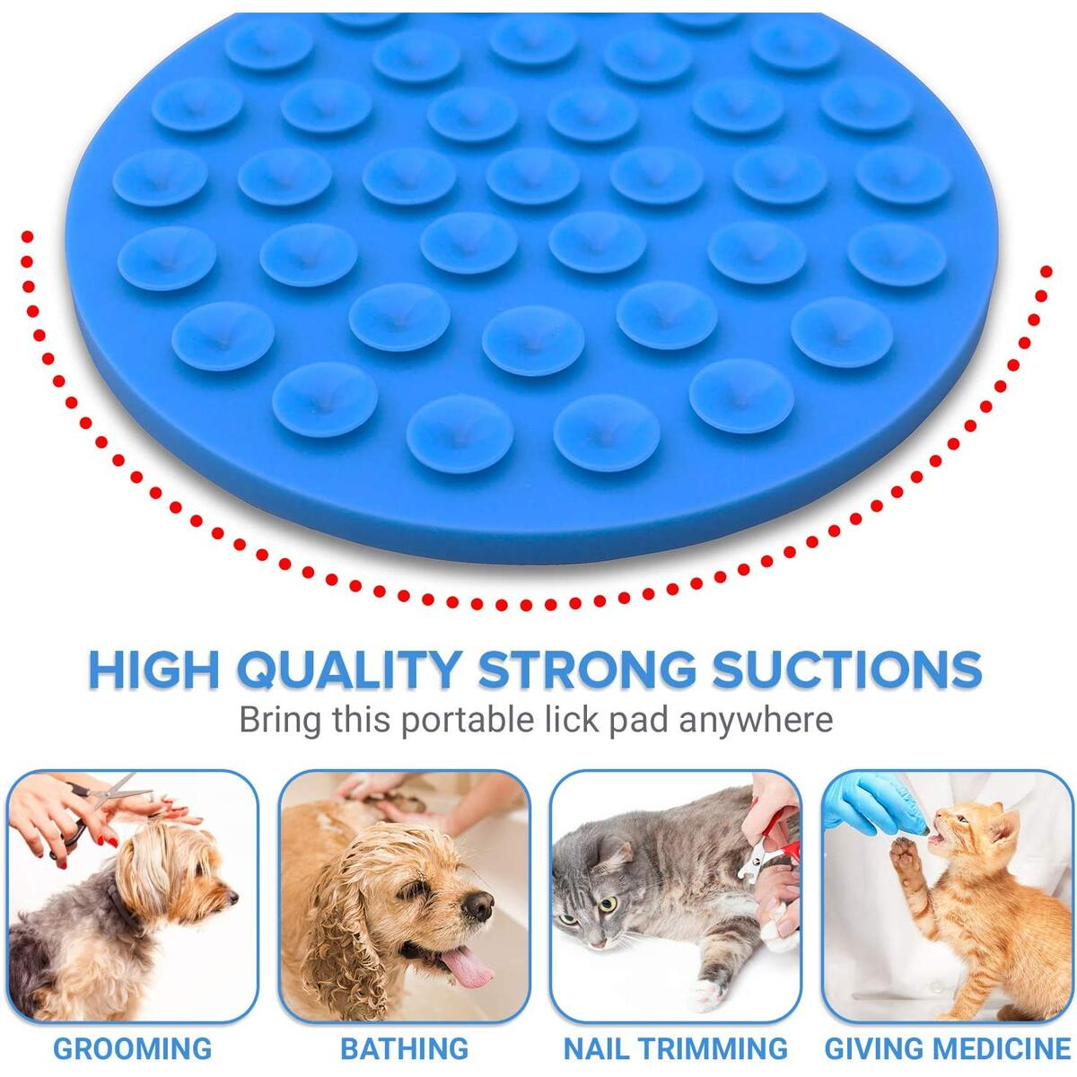 Lick Mat for Dogs - Dog Bath Peanut Butter Lick Pad - Suction Cup Sticks to Shower and Tub - for Grooming, Wash, Trimming Nails, Distraction, Pet Training, Calming Anxiety