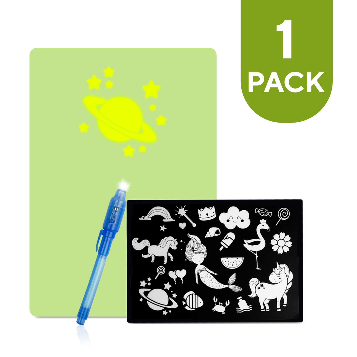 Allessimo Lunar Draw - Magic Light Artist Board, Pack of 1, Double Sided Lunar Draw Drawing Board + 2 Pages of Fun Stencils Writing sketch pad for kids