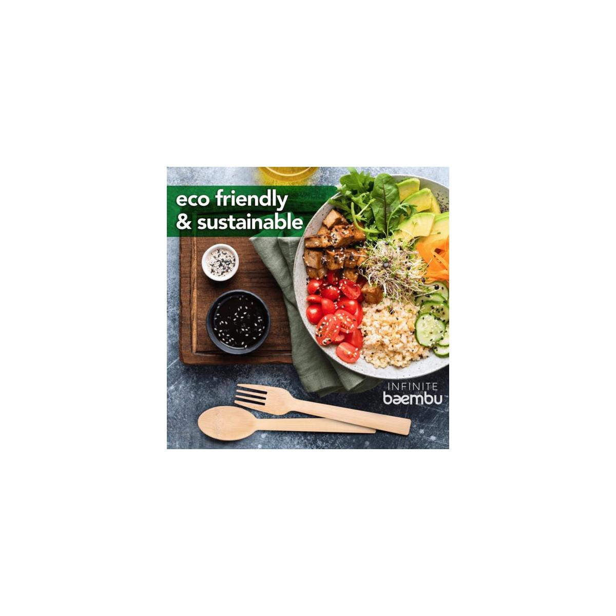 100% Bamboo Disposable Cutlery Set - Superior to Wooden Cutlery | Eco Friendly, Compostable, Biodegradable Bamboo Utensils; Perfect For All & Any Occasions; 100PK (50 Forks, 25 Spoons, 25 Knives)