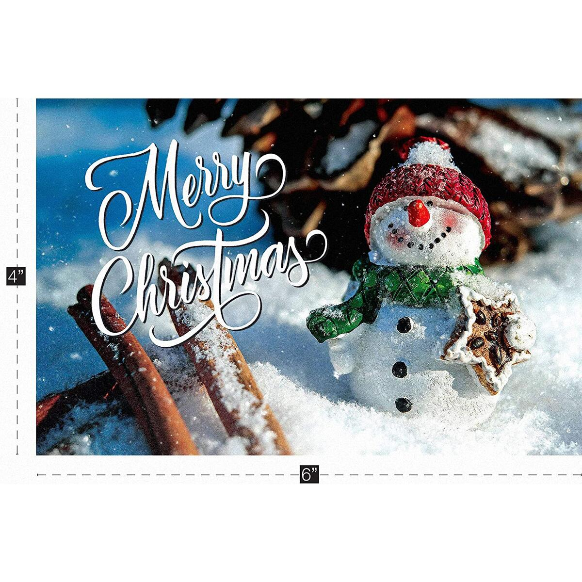 Merry Christmas Card Set Snowman Christmas Greeting Cards with Envelopes 18 Pack Elegant & Cute – Vintage, Country Farmhouse Happy Holiday/Seasons Greetings Box Pack 4x6: WHITE SNOWMAN DESIGN