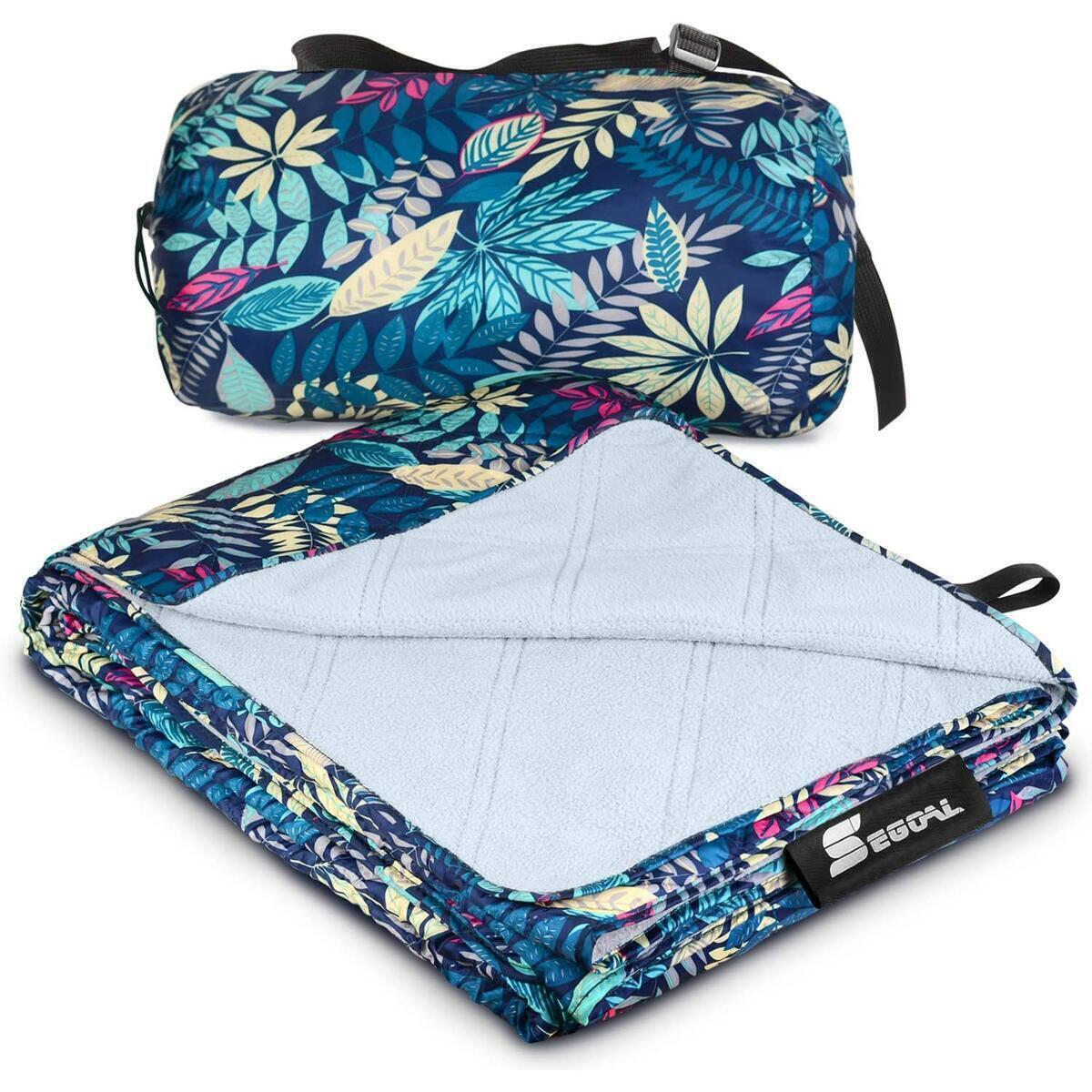 BLUE Pattern Outdoor Blanket Picnic 78.7''x 55.2'' Oversized Nylon Fleece Mat Waterproof (REBATE VALID WITHOUT COUPONS)