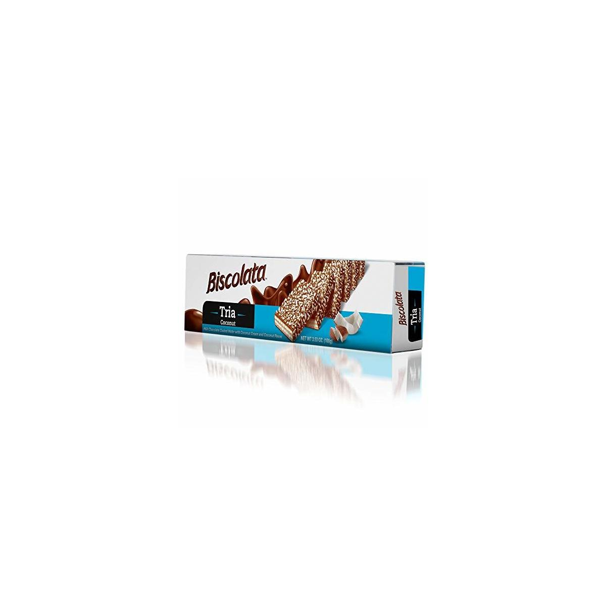 Biscolata Tria Milk Chocolate Wafers Snacks - (3 Pack - 36 Pieces) (Coconut)