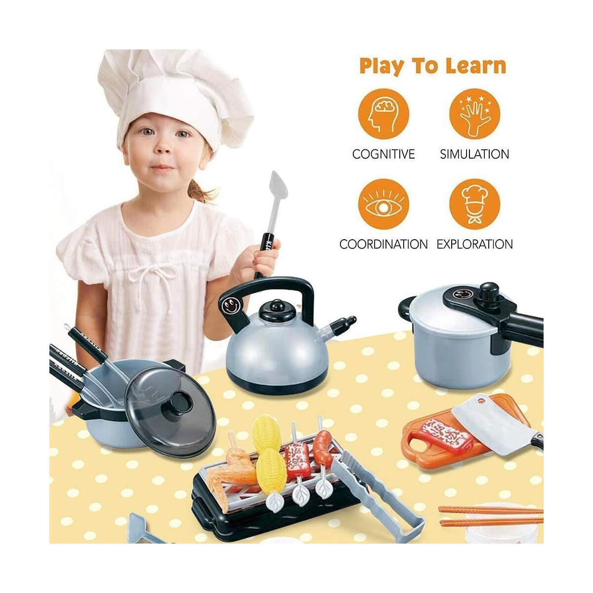 Happytime 36 Pieces Cooking Pretend Play Toy Kitchen Cookware Playset Including Pots and Pans Play Food, Cutting Vegetables, Toy Utensils Gray