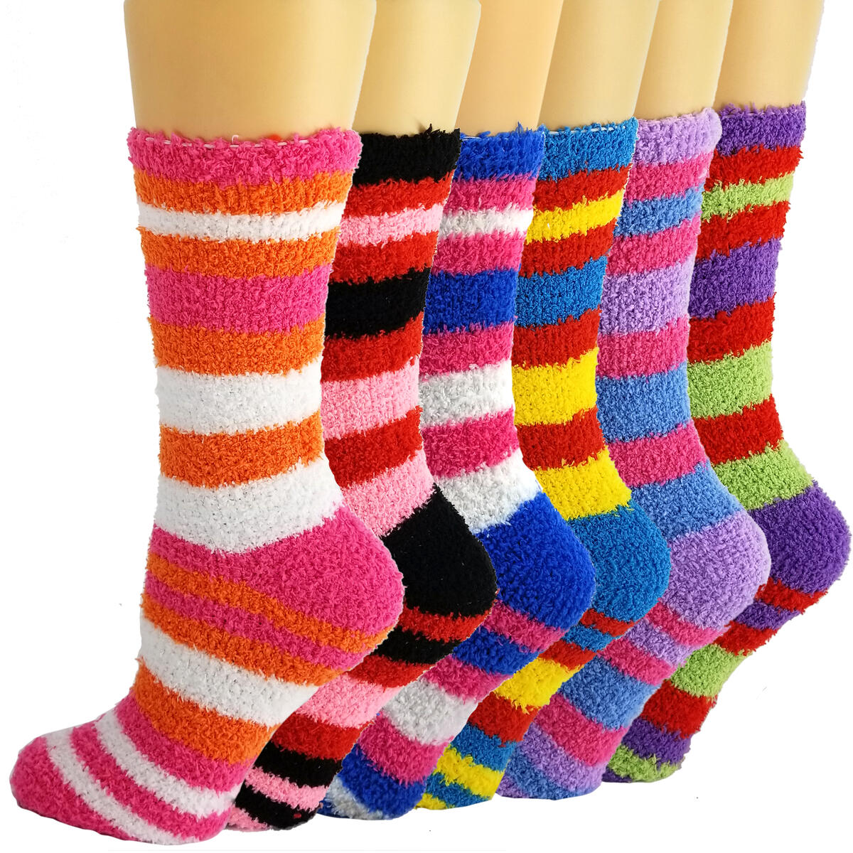 Debra Weitzner Womens Fuzzy Socks 6 Pack Plush Slipper Socks Microfiber Soft Anti Slip
