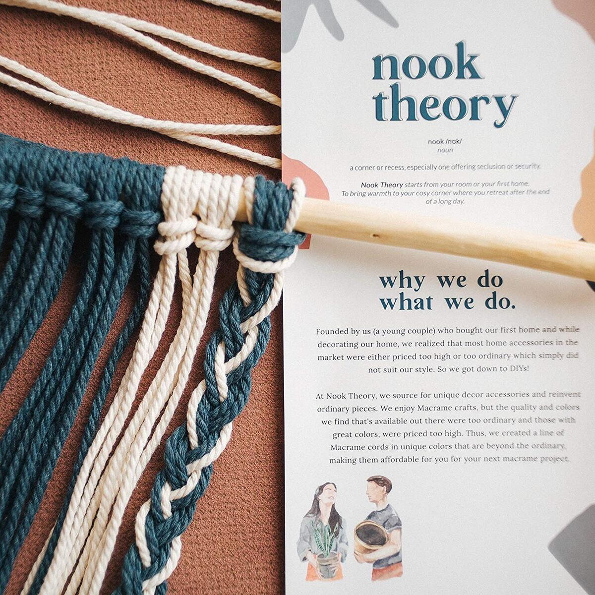 Nook Theory Macrame Cord 3mm - Flexible & Soft Rope Perfect for Knots - Macrame Supplies for DIY Wall Hangers, Plant Holders & Boho Home Decorations - Arts & Crafts Essentials - 220 Yards - Maroon