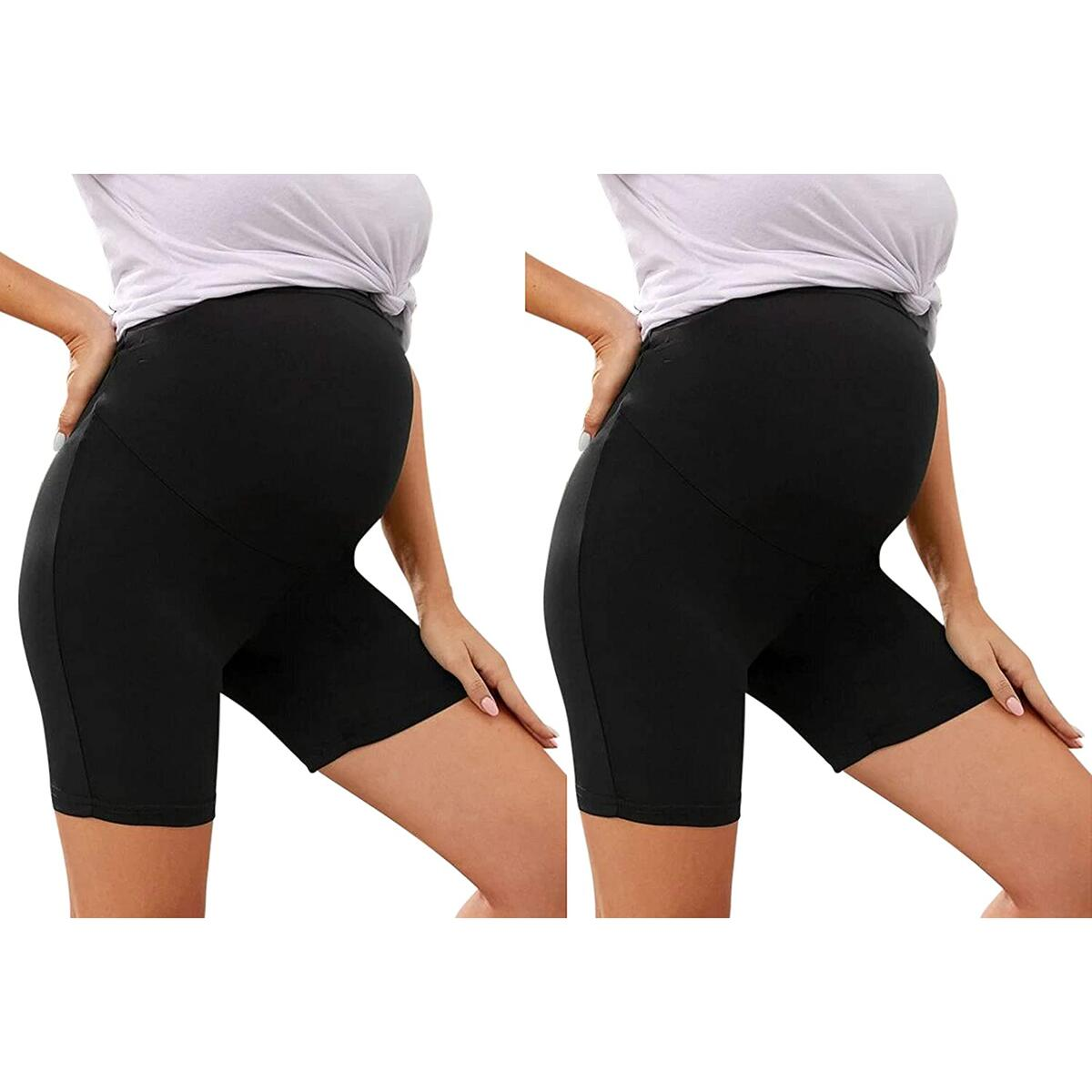 Rebate Only For Color: 2 Pack Black Shorts- Maternity Leggings Over The Belly Activewear Gym Clothes Stretch Nursing Clothes