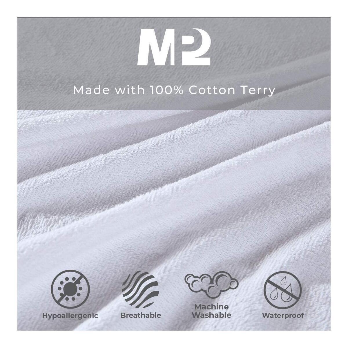 Waterproof Twin XL Size Mattress Protector, Breathable Cooling Cotton Terry Bed Cover Deep Pocket - Fits 4
