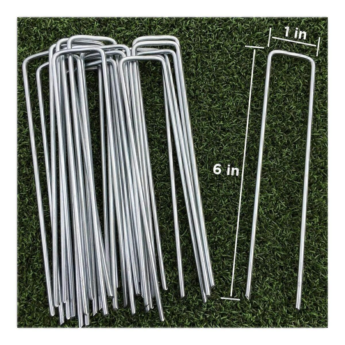 100-Pack 6'' 11 Gauge Heavy Duty U-Shaped Securing Stakes Pins Spikes Pegs - Sod Fence Staples for Anchoring Weed Barrier and Landscape Fabric, Netting, Irrigation Hoses, Ground Mat, More Applications