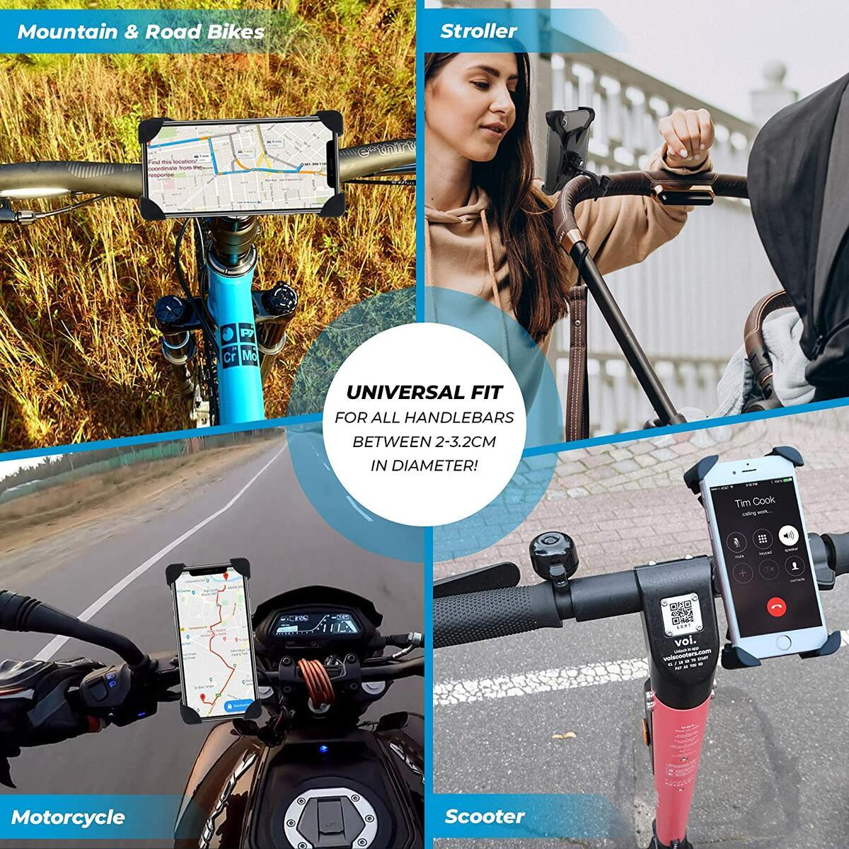 Extra Mile Direct Bike Phone Holder Mount iPhone Android Cell Phones Handlebar Accessories - Motorcycle Scooter Cruiser Electric Road Bicycle Mountain Bikes - Quick Release Anti Shake Lock Clamp