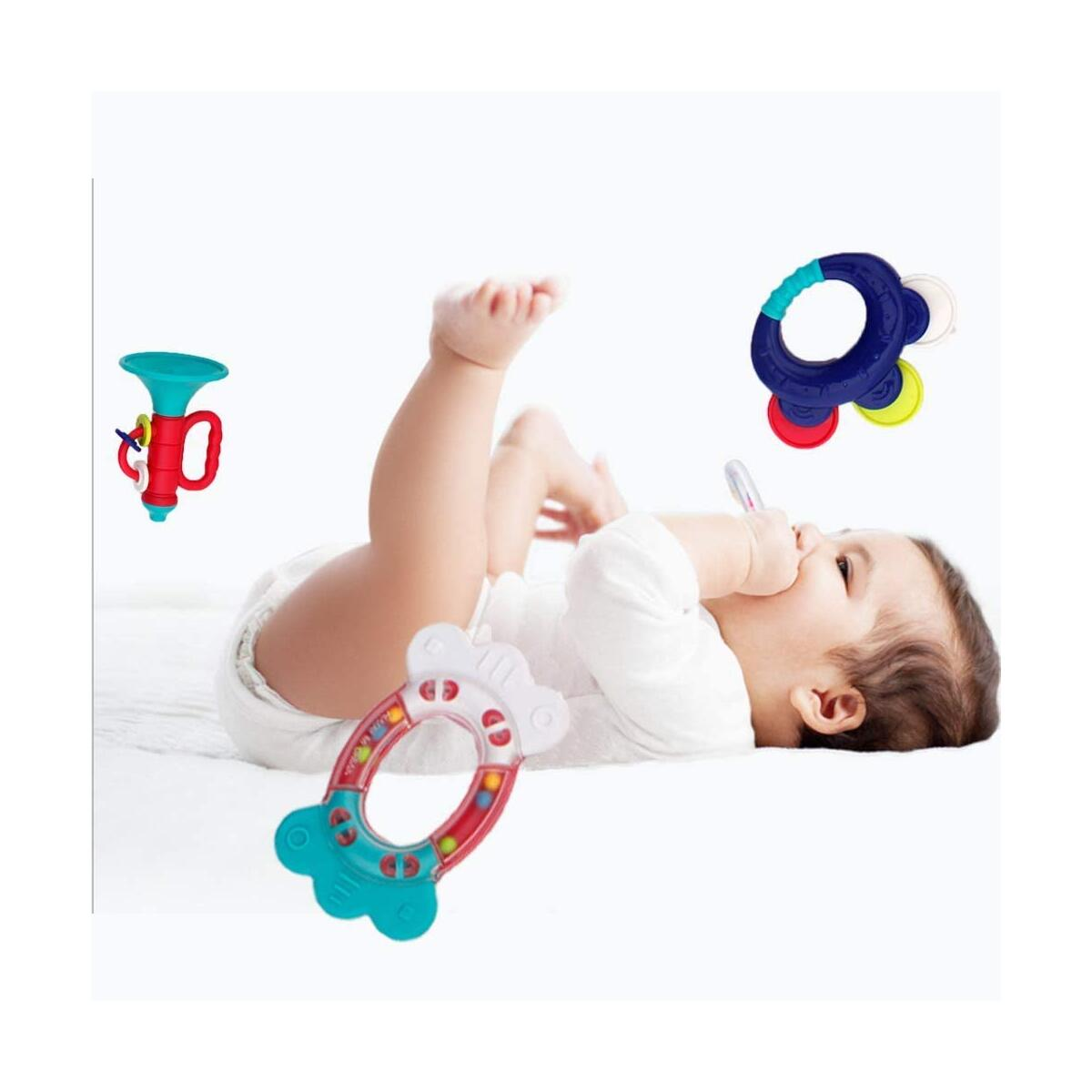 WISHTIME Baby Rattle Teether Baby Toys - 10pcs Shaker, Grab, Shaking Bell Rattle Set Infant Newborn Toys with Storage Box Gift for Babies 0 3 6 9 12 Months
