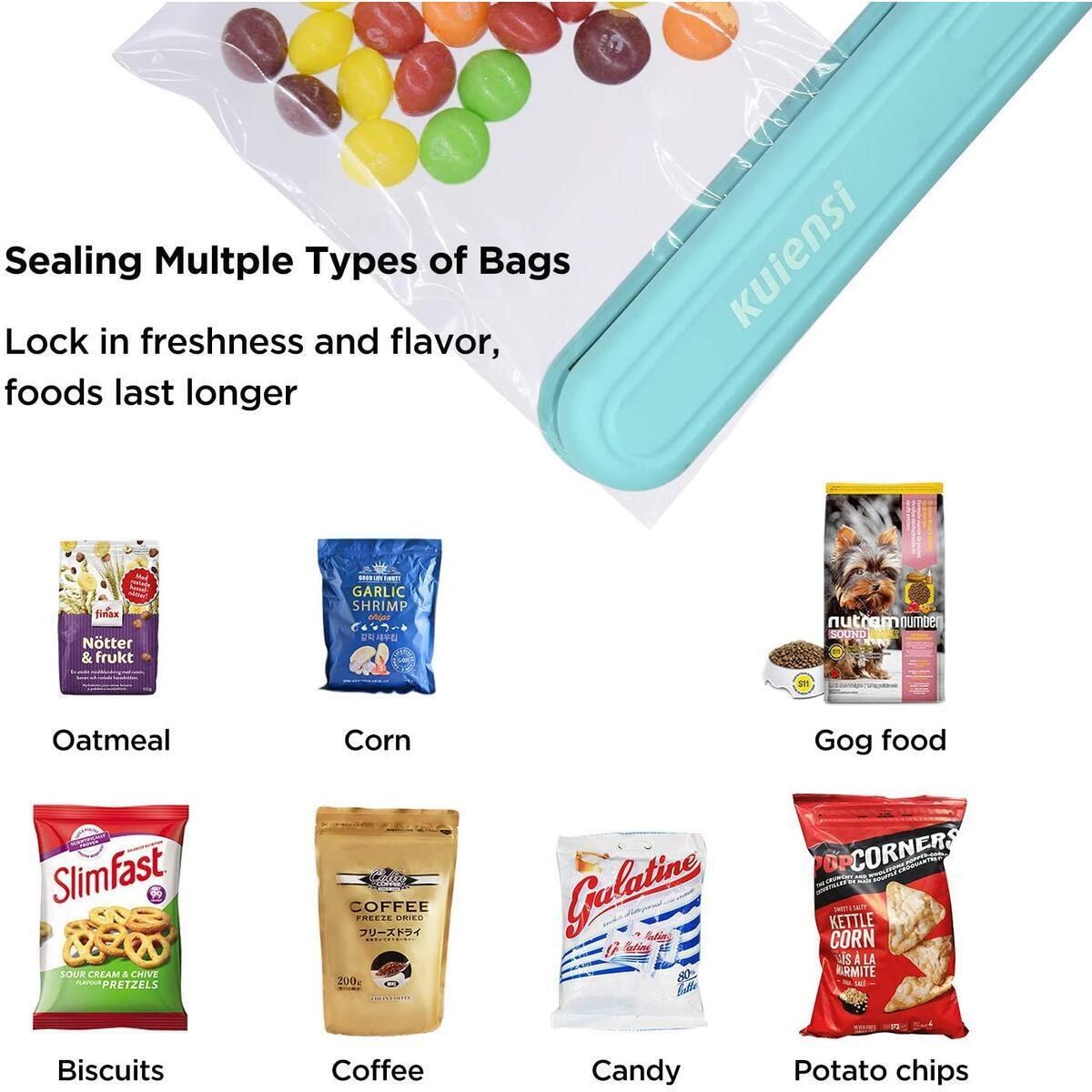 Food Bag Heat Sealer Handheld, Portable Mini Sealing Machine for Bag Food Storage, Double Smart Switches on the Side with 47 inch Separate Type Power Cable (Green)