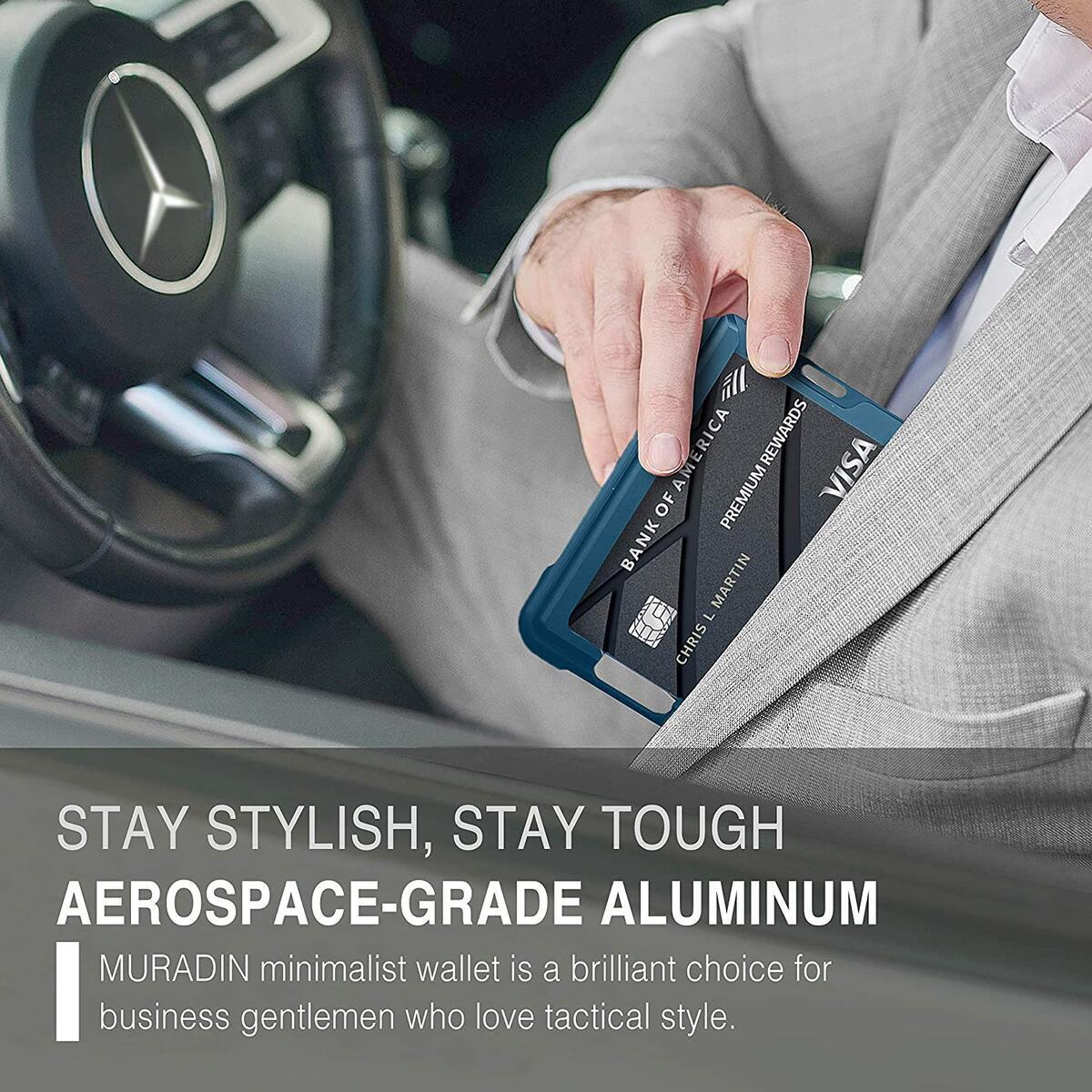 MURADIN RFID Wallets for Men. Minimalist Aerospace-grade Aluminum Metal Wallet