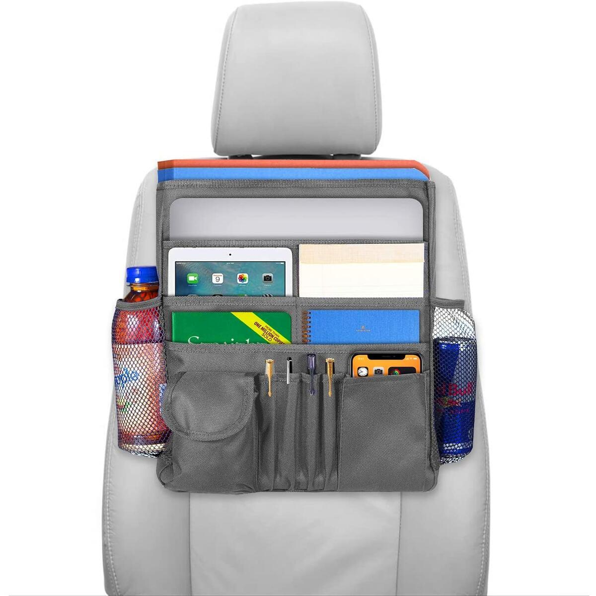 Car Office Organizer, Front Seat Storage Bag for Supplies and Snacks, Travel Accessories Tote Bag with Multiple Large Pockets and A Closable Flap, Backseat Bag, for Adults Or Kids - Grey