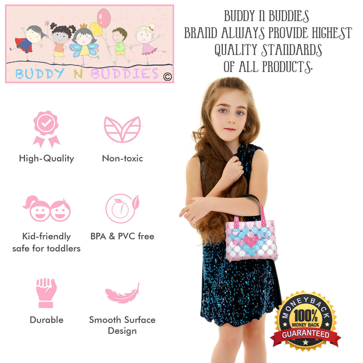 Buddy N Buddies Make Your Own Fashion Purse for Girls Age 6 7 8 9 10 Years Old Best Gift. DIY Bag for Girls, Fun Arts & Craft Activity Kit for Kids, Cute Girl Gift.
