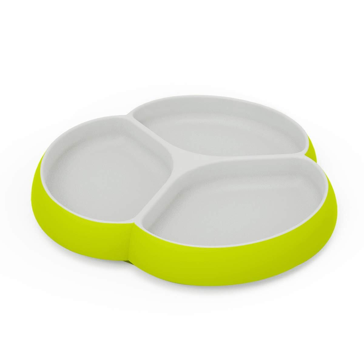 Silicone Suction Baby Plates - SILIVO Non Slip Toddler Plates for Babies, Kids and Children, Microwave & Dishwasher Safe – Lime/Gray