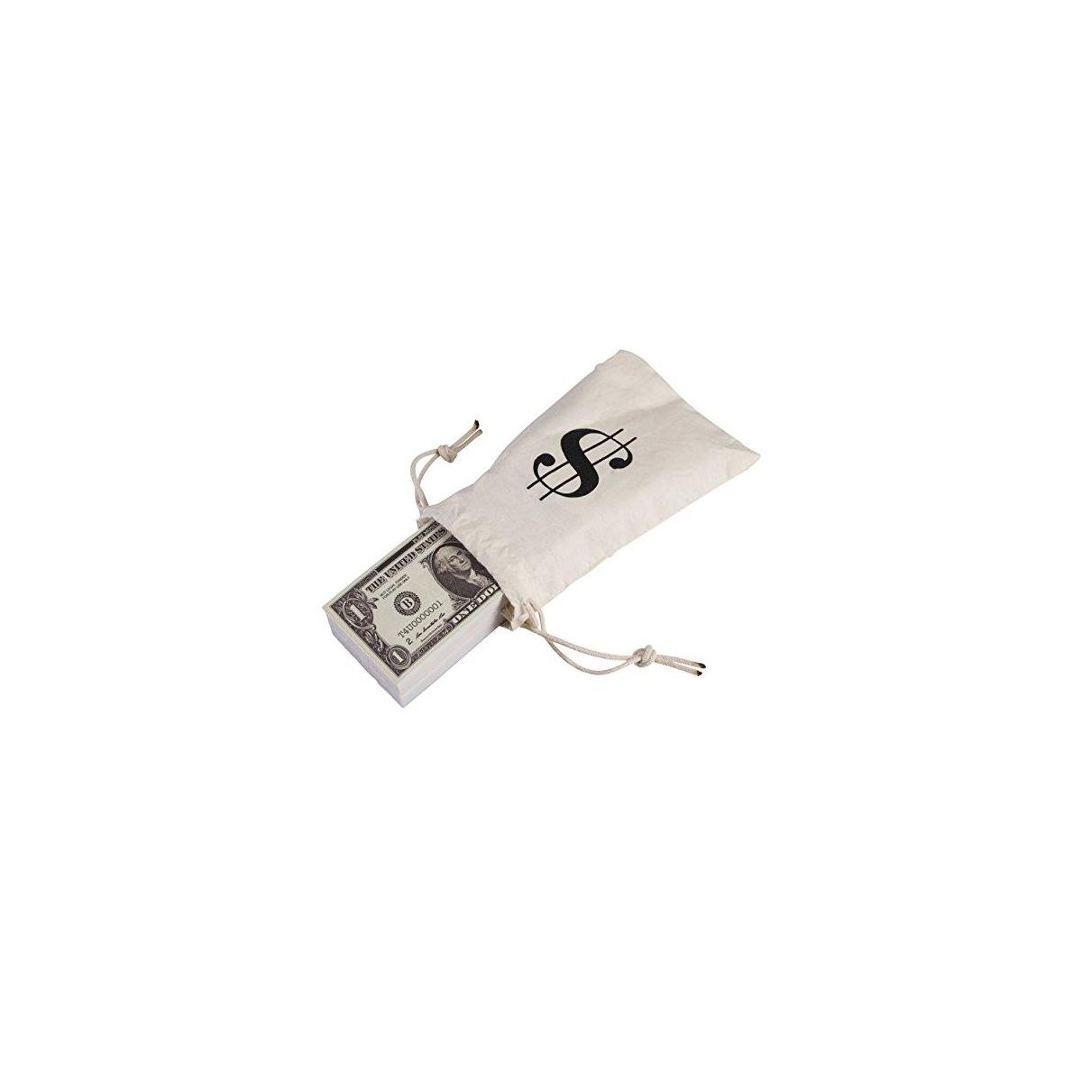 Playing Money Double Sided Dollars Paper Sack Pretend Wallet That Looks Real for Kids