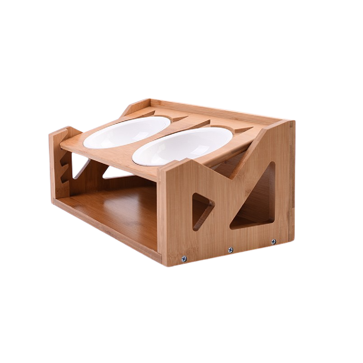 Premium Quality Adjustable Elevated Cat and Small Dog Dining Table, Titled Angle Raised Wooden Feeder with Dual Stainless Steel Bowls. Adjustable Size for Multiple Pets or Growing Pets