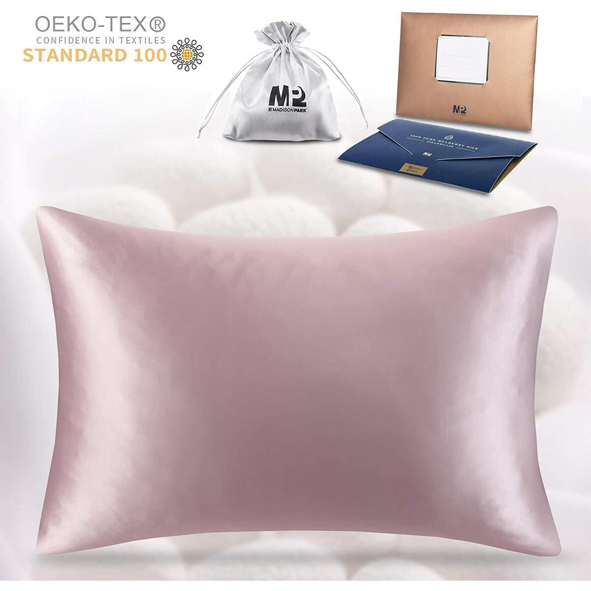 Silk Pillowcase  for Hair and Skin   100% Mulberry Worm, Both Sides 19 Momme 600 Thread Count Pillow Cover w/ Hidden Zipper - 1 Pack, Queen Size, Blush
