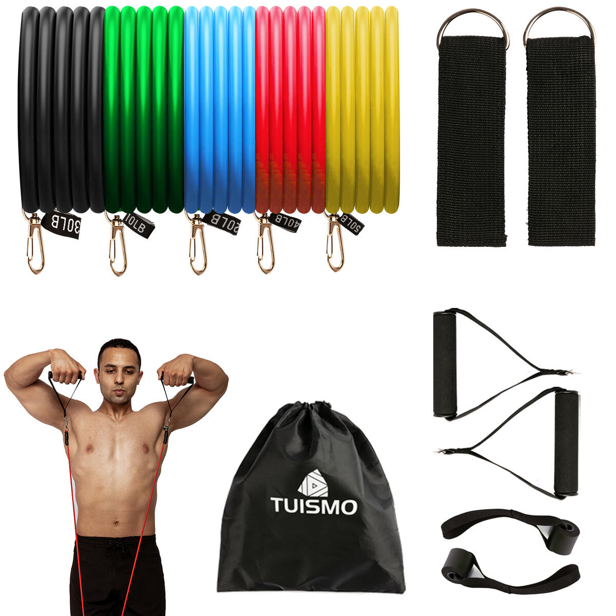Portable Exercise Resistance Band Set| Exercise Bands with Door Anchor, Legs Ankle Straps, Handles, Waterproof Carry Bag for Resistance Training| Exercise Equipment 150LBS for Home Men Women TUISMO