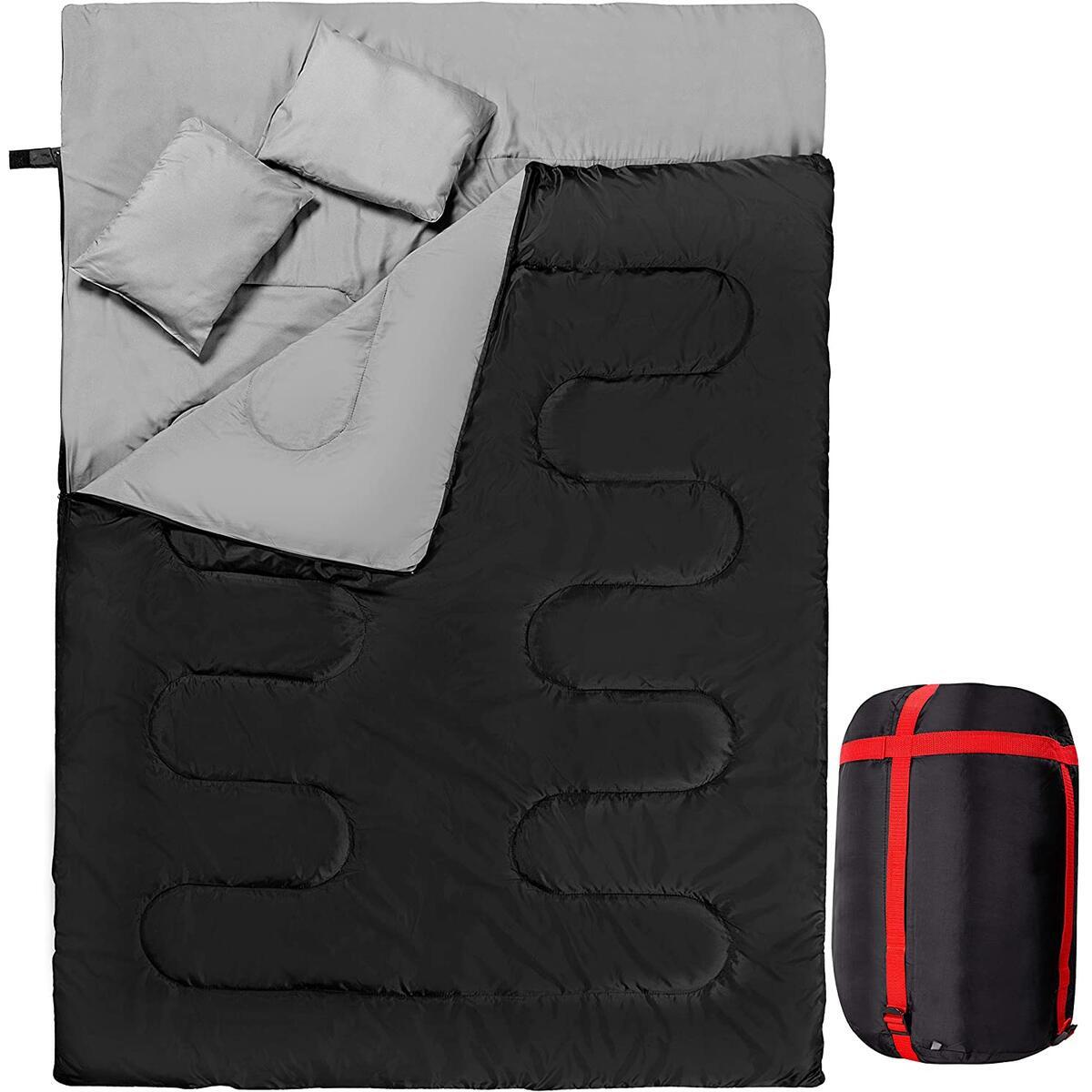 Zento Deals Double Sleeping Bag with 2 Pillows – Queen Size Waterproof Sleeping Bag Good for 2 Persons, Lightweight, for Camping, Cool Weather Backpacking, Hiking, Tent Carrying Bag Outdoors