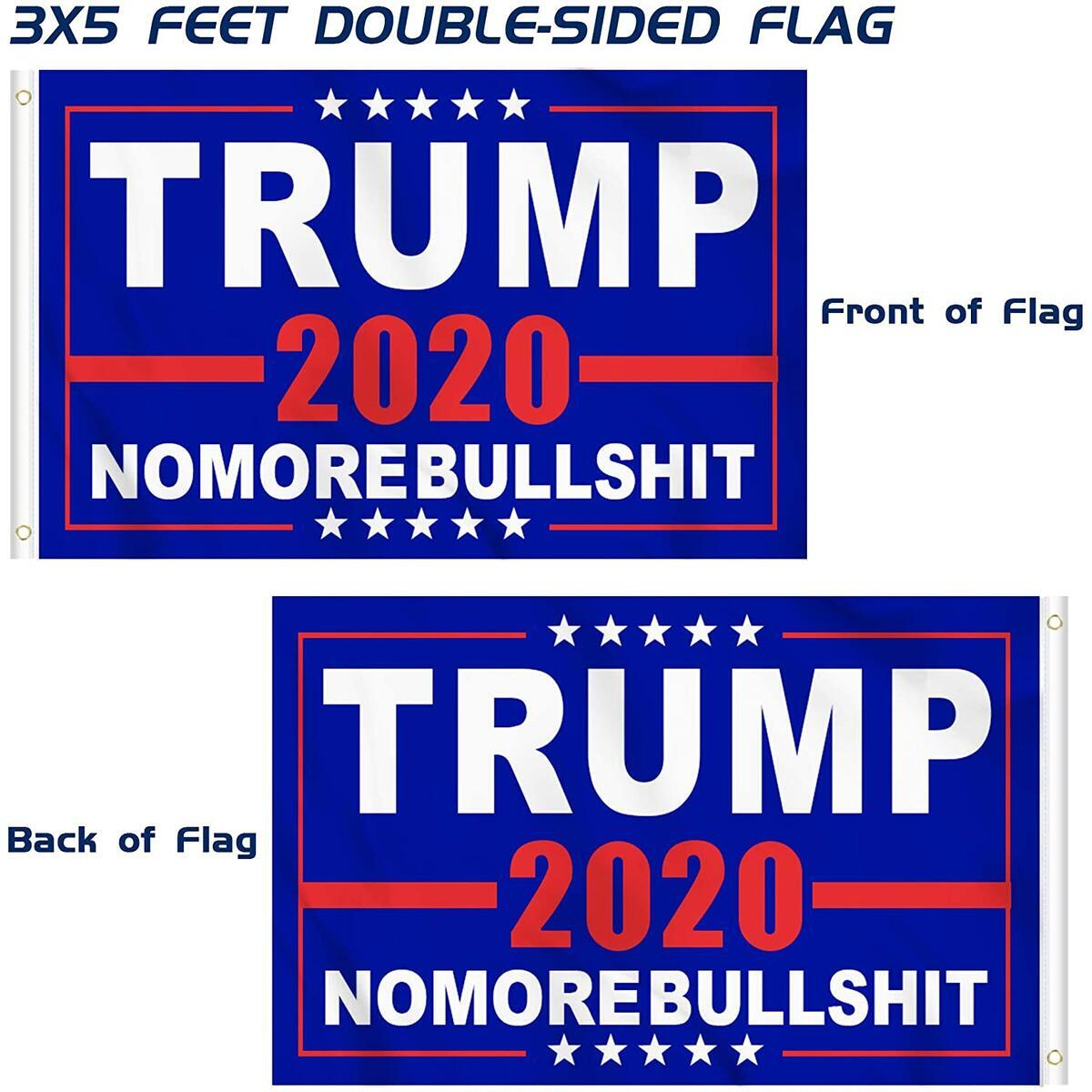 KENPMA 3x5 Feet Double-Sided Trump 2020 Keep America Great Flag No More Bullshit Flag Heavy Duty Printed Polyester 3-ply with Brass Grommets - Indoor/Outdoor - Vibrant Colors, Pack of 2