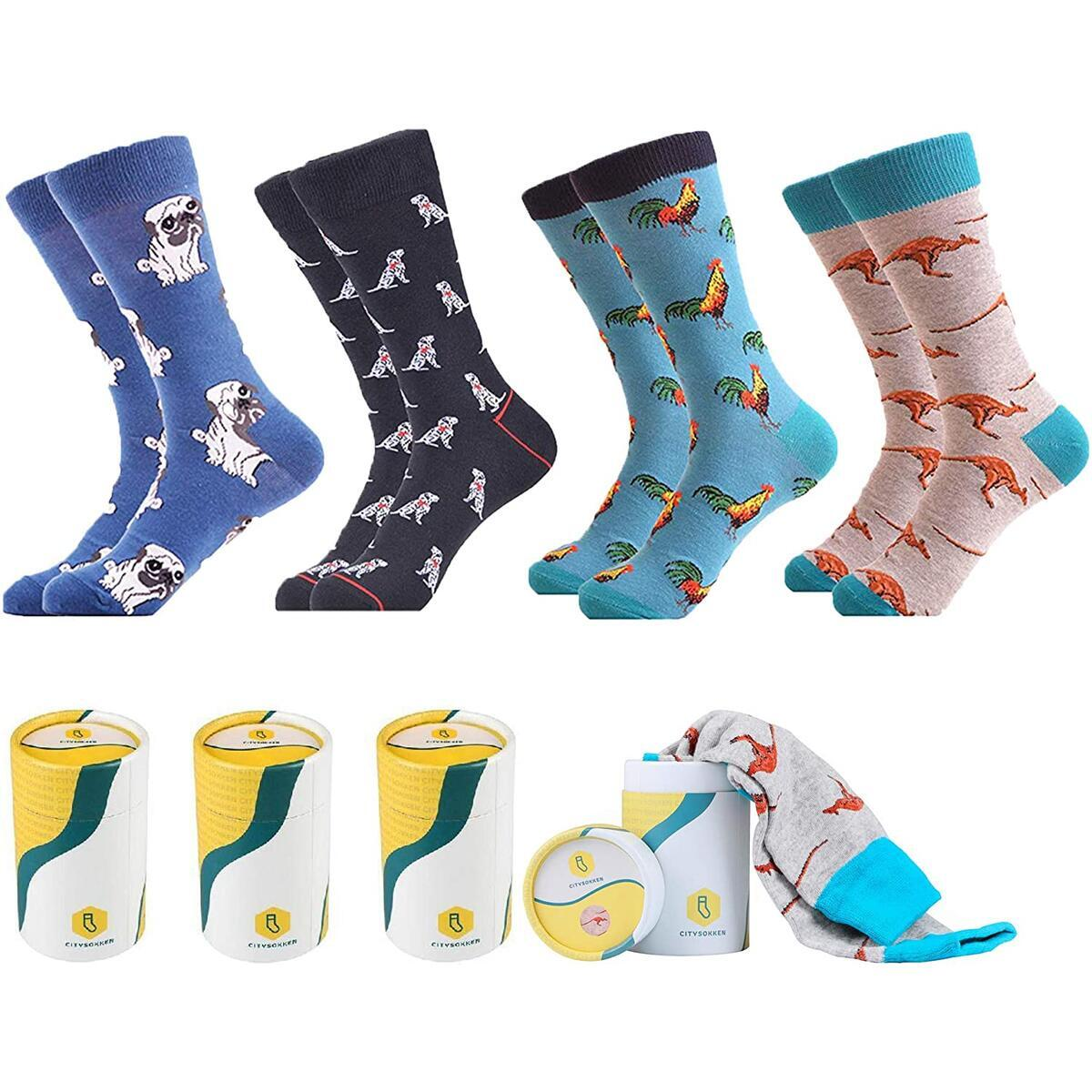 Premium Quality Mens Colorful Fun Socks | by CitySokken. With Hard Case Boxes. Rebate valid only for color: Wild-1_b