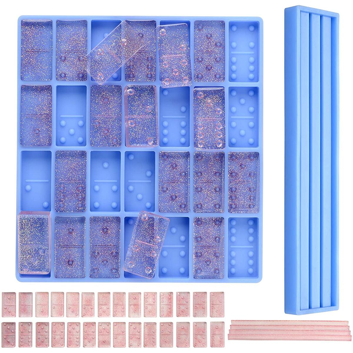 Set of Domino Molds for Resin Casting – 2 pcs Durable Silicone Mold for Epoxy Domino Pieces and Trays – Mold Trays for Soaps, Bath Bomb, Beeswax, Resin, and Chocolate