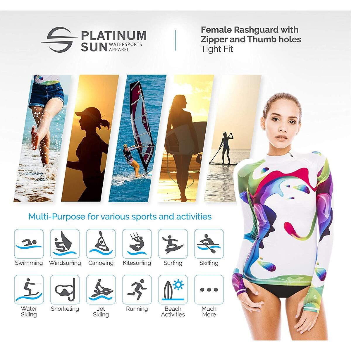 Rainbow rashguard for women UPF 50+ ONLY M size and only RAINBOW STYLE !!!
