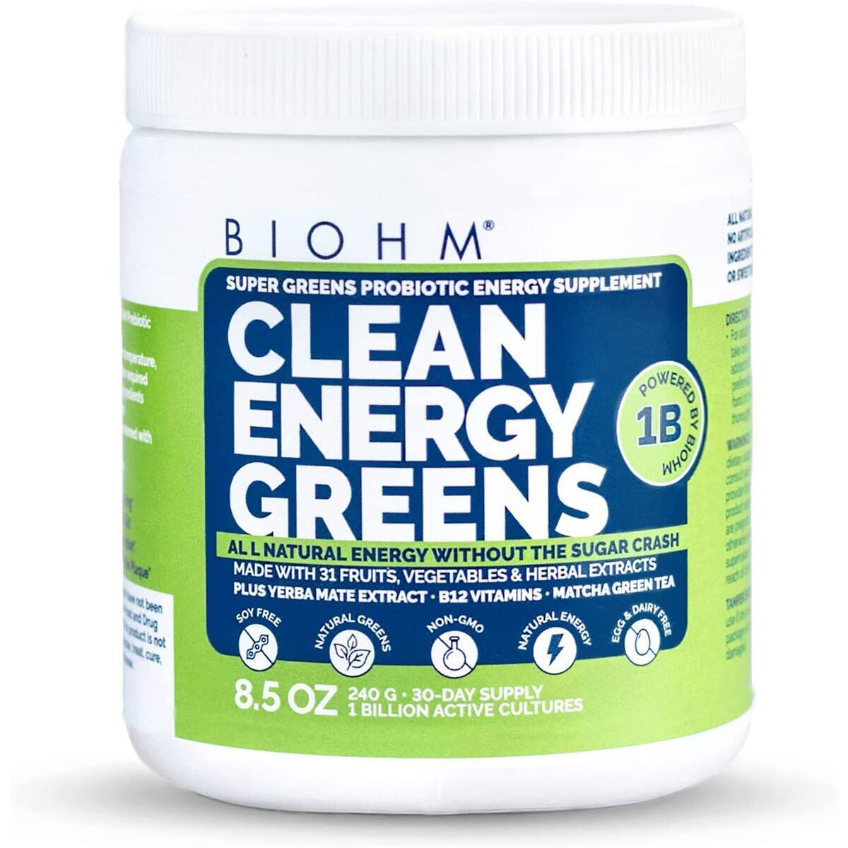 BIOHM Clean Energy Greens with Probiotics, Super Greens Superfood , All Natural Energy Powder Without Sugar Crash, 31 Natural Fruit, Vegetable and Herbal Extracts, Allergen Free, Non GMO, 30 Servings
