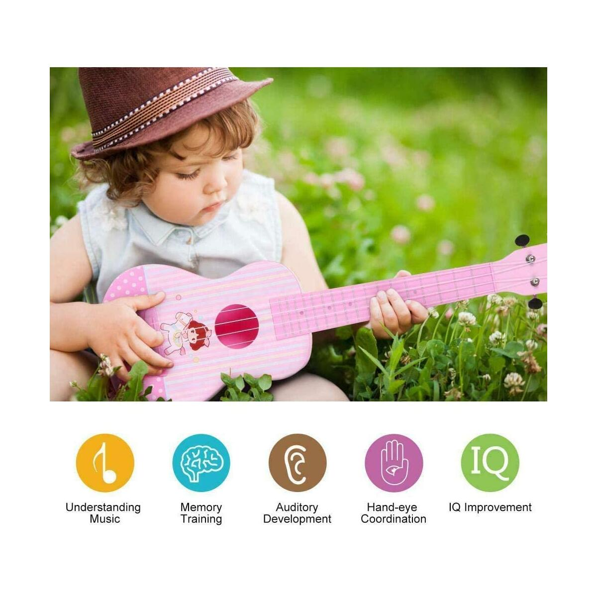 HANMUN Unicorn Musical Ukulele Guitar Toys - 23 Inch Pink Guitar with 4 Strings Musical Instruments Learning Educational Toys for Kids Children Adult Children (Pink)