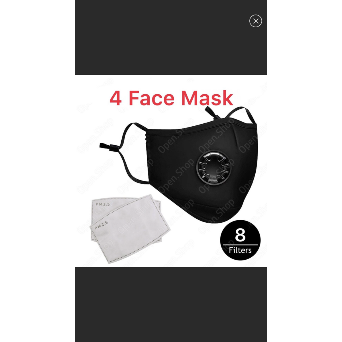 4 Washable Face Masks with 8 free pm2.5 filters