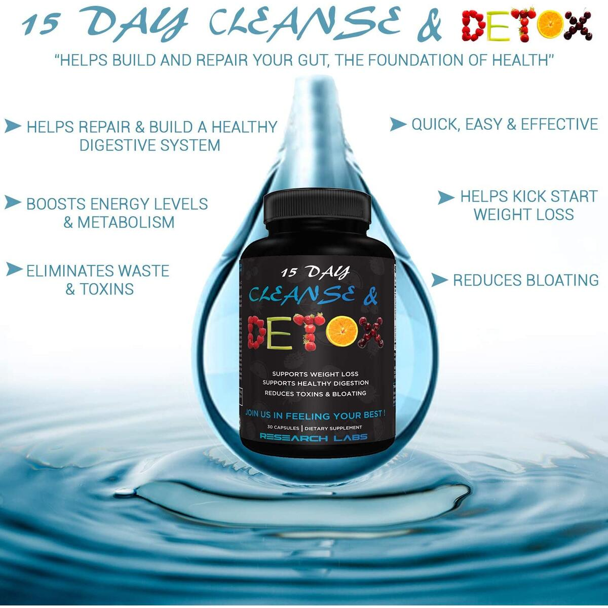 2 for 1 Deal Research Labs 15 Day Colon Cleanse & Detox for Weight Loss - Constipation Relief - Flushes Toxins, Boosts Energy. Clinically Researched Safe and Effective Formula
