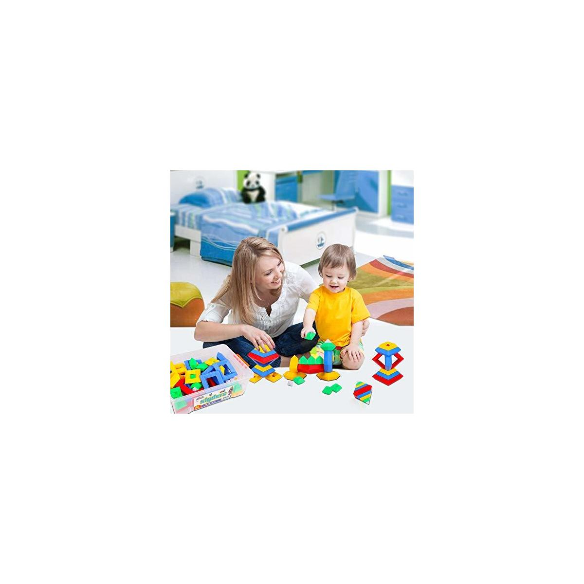 PlayBuild Slyder Set: 60 Pieces 3D Pyramid Building Blocks, Geometric Stacking Toys for Kids Ages 4+ - Creative Early Childhood Educational Toys for Preschool Boys and Girls