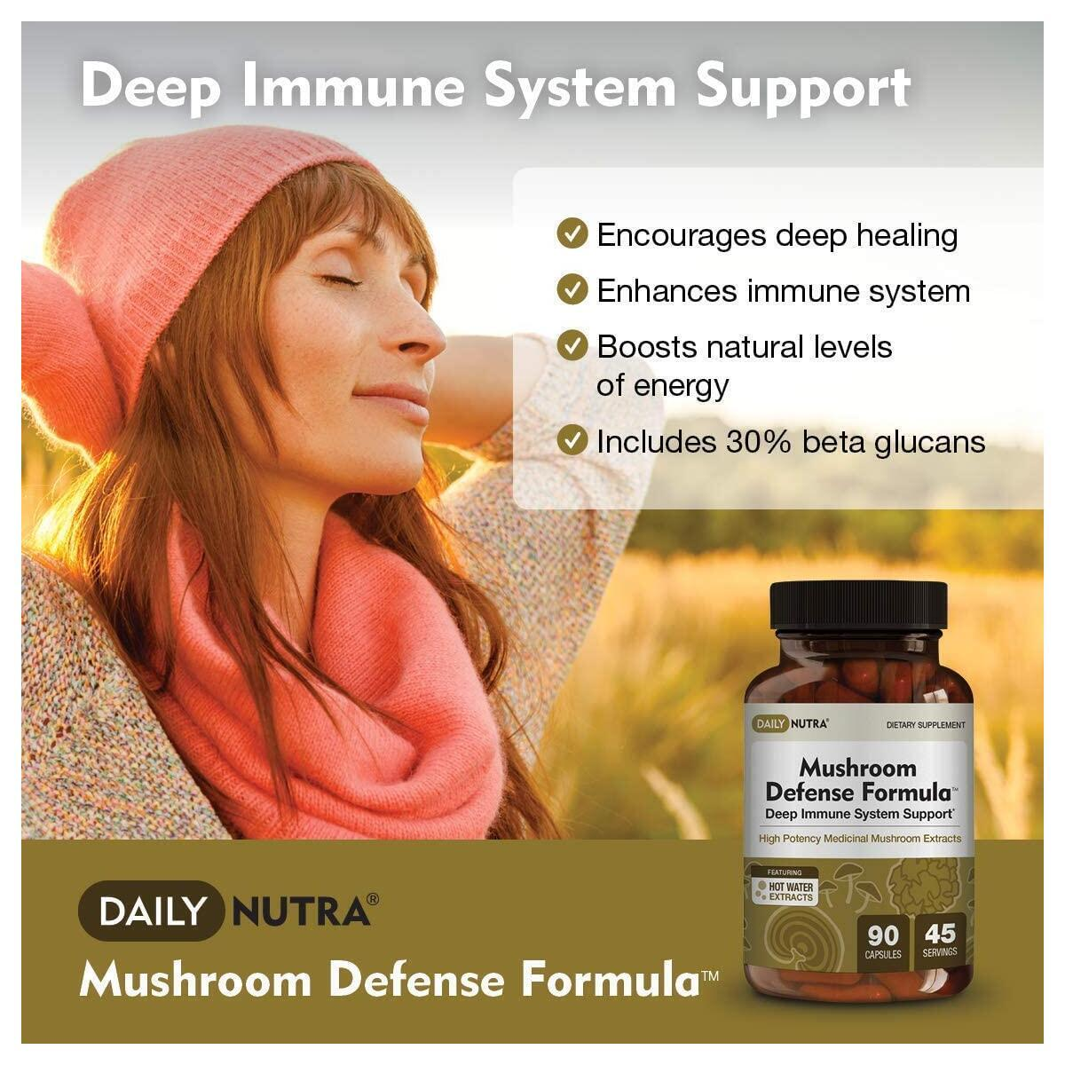 Mushroom Defense Formula by DailyNutra - Immune Support Supplement | Organic Mushrooms, Hot Water Extracted - Reishi, Chaga, Maitake, Shiitake & Turkey Tail (90 Capsules)