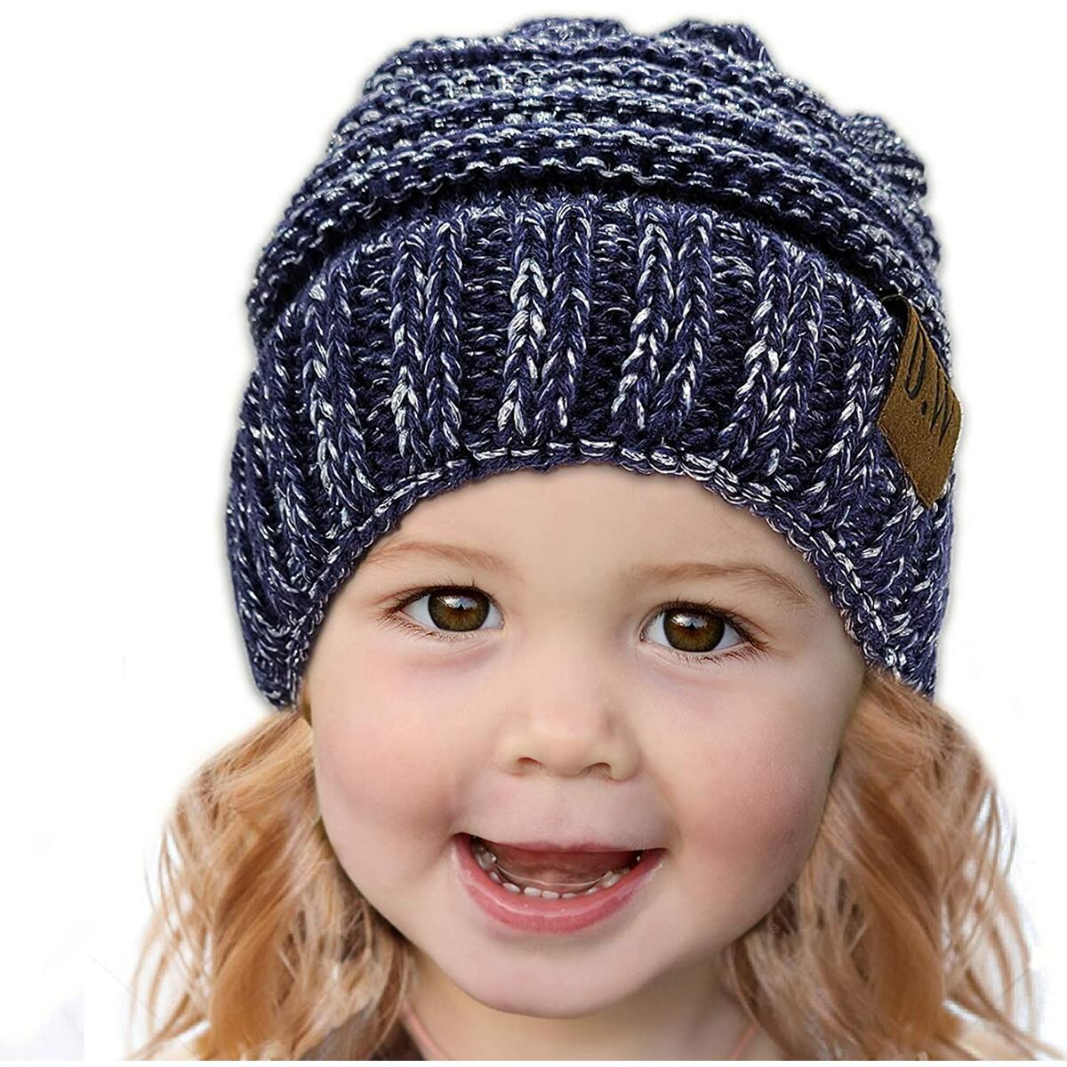 Debra Weitzner Kids Winter Beanie Hat Toddler Fleece Lined Knit Winter Cap for Boys and Girls color blue-silver