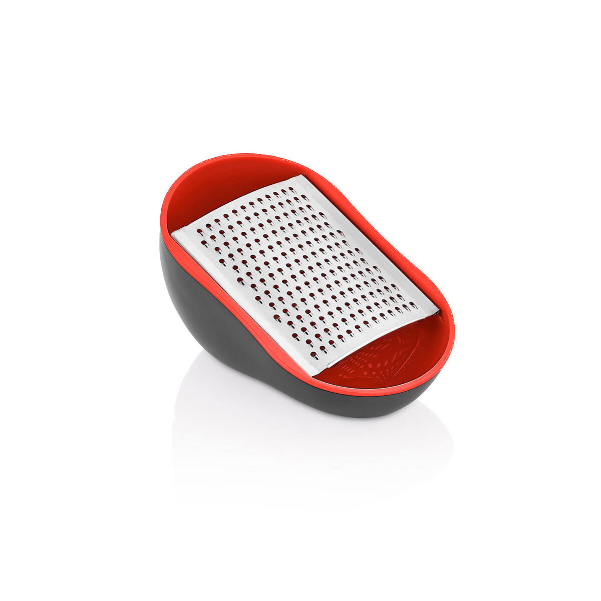 Qlux stylish practical kitchen and cheese grater - vegetable, carrot, ginger, garlic grater - non-slip base - decorative design - stainless blades - Easy to clean - BPA free red