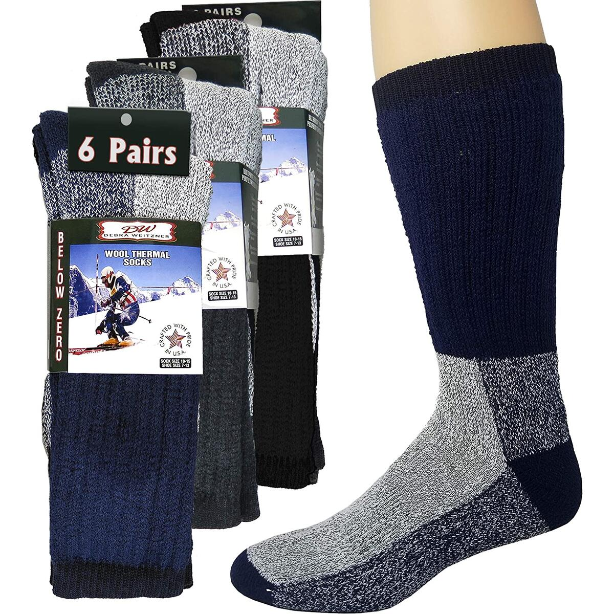 Debra Weitzner Thick Merino Wool Socks Thermal Boot Socks For Men and Women Warm 6 Pairs  A Assorted D