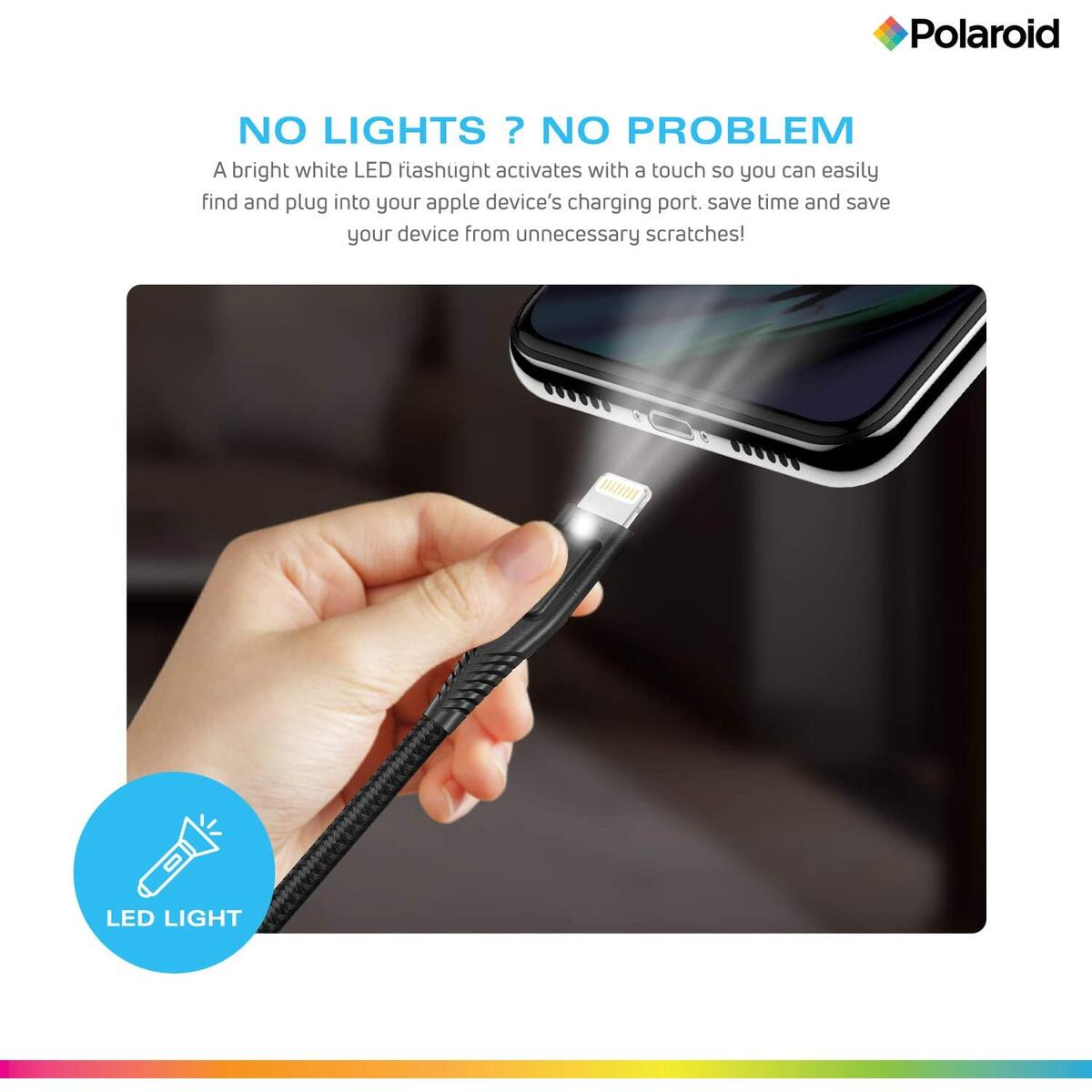 Polaroid 5ft Lightning Cable, Apple MFi Certified, with LED Light, Braided Spun Nylon, iPhone Charger Cable