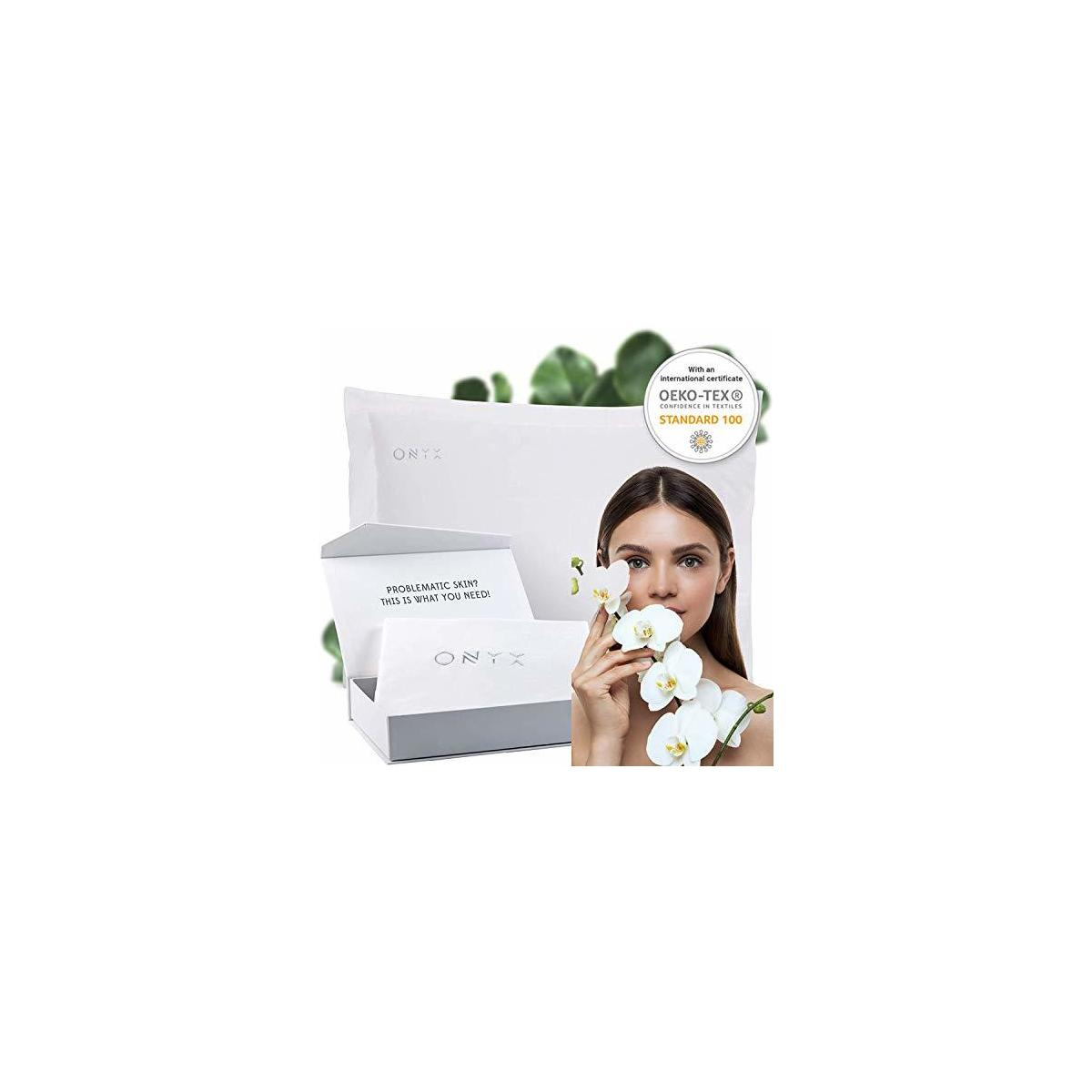 ONYX Zinc Skin Repair Treatment Pillowcase Natural Minerals,Works on Your Skin While Sleeping,Nature Healing Technology for Smooth Skin, Hair, Scalp, Acne,Seborrhea,Eczema, Forehead Wrinkles & More