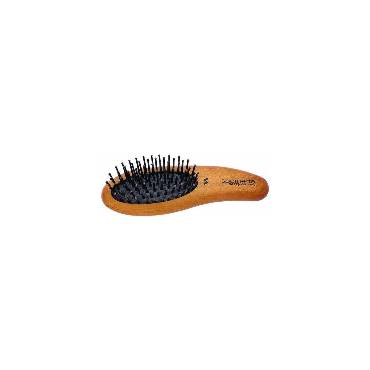 Spornette Carry On Wooden Handle Oval Cushion Mini Hair Travel Brush
