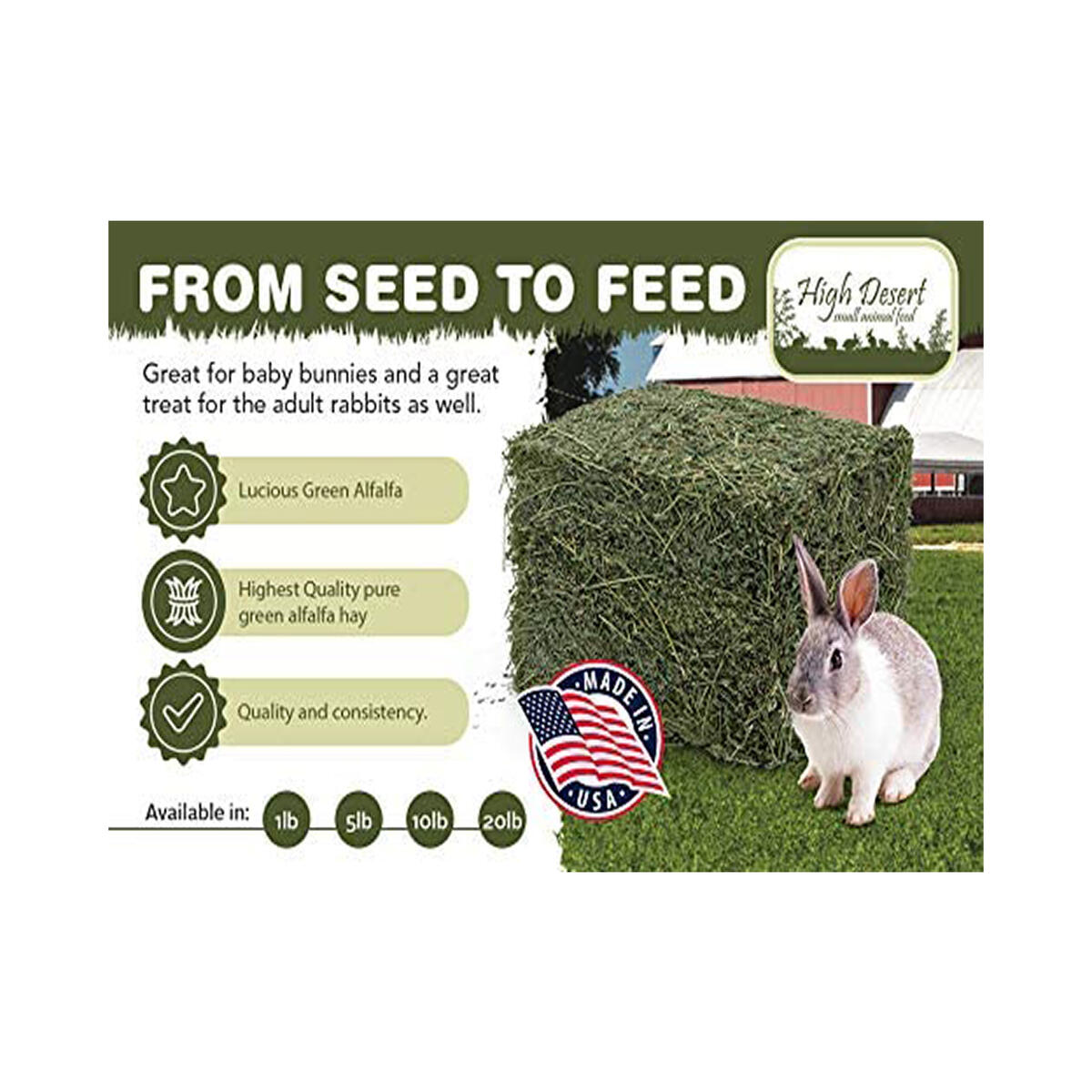 Alfalfa Hay, 1 lb - Dried Natural Alfalfa Hay for Rabbits, Guinea Pigs, Chinchillas, and Ferrets - Protein and Fiber Rich Food for Small Animals - Healthy Pet Food