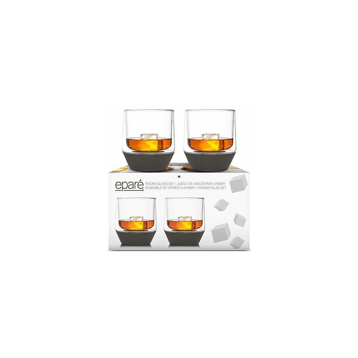 Whiskey Glasses - 9 oz Tumblers for Old Fashioned - Set of 2 - Spill Preventing Glassware - Black Silicone Base
