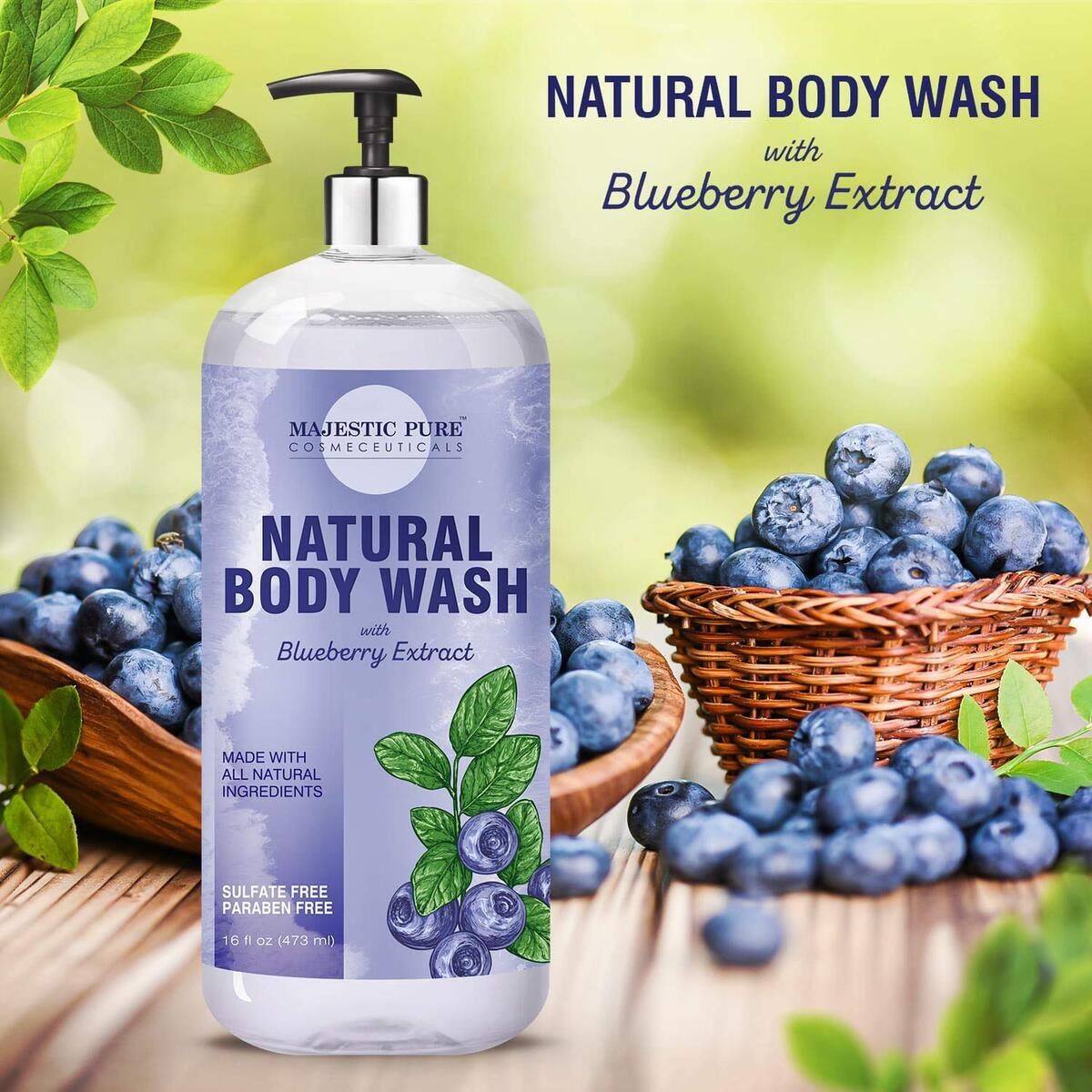 All Natural Body Wash with Blueberry Extract - for Body, Face and Hand - Liquid Soap, Sulfate Free & Paraben Free, for Women and Men - 16 fl oz