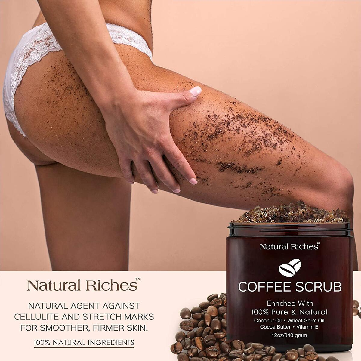 Natural Riches Arabica Coffee Body & Face Scrub – (12 Oz / 340gm) Deep Cleansing Exfoliator All-Natural exfoliates with Coconut & Cocoa Butter for Stretch Marks Acne Cellulite Spider Veins Varicose Veins Age Spots…