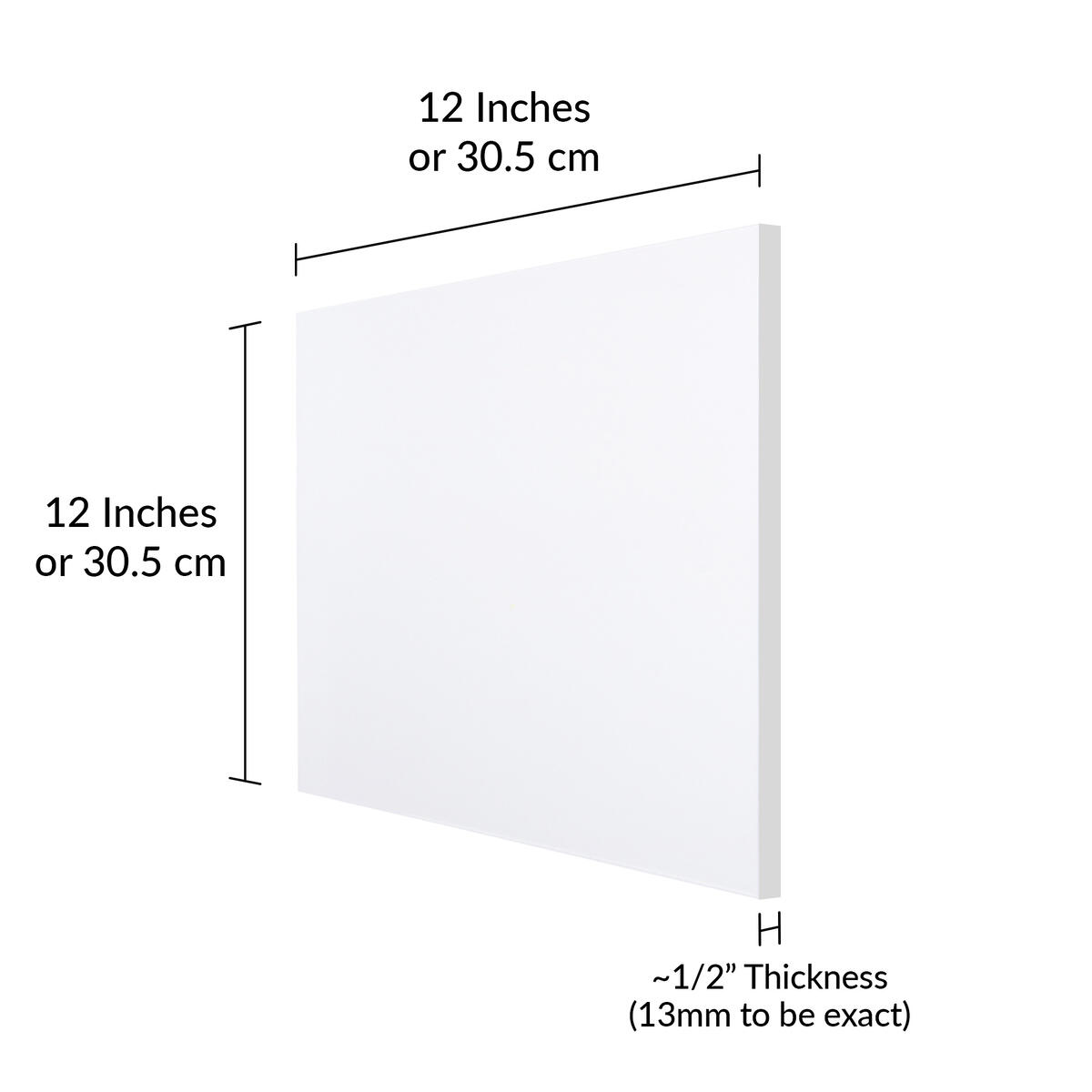 """SimbaLux Acrylic Sheet Clear 12"""" x 12"""" Square 1/2"""" Thick (13mm) Plexiglass Board"""