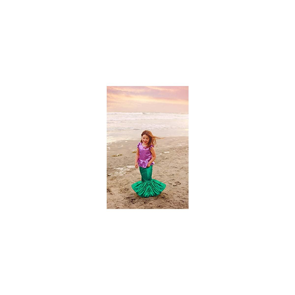 Toddler Girl's Mermaid Costume for Birthday Party, Dress up Play and Halloween - Purple Top W/ Deep Green Skirt M (3-4 Years)