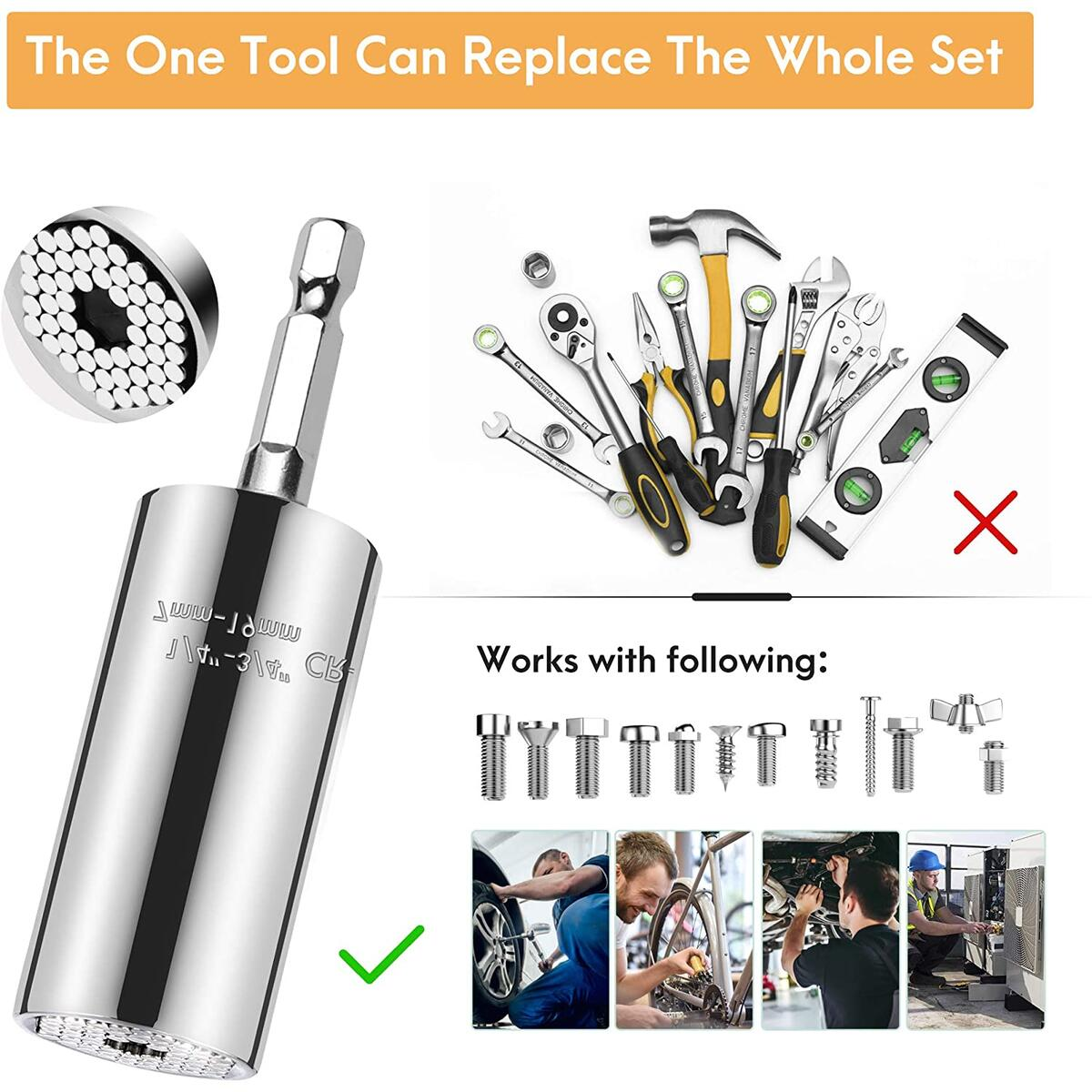 Universal Socket Tool Set (7-19mm) Ratchet Socket Wrench With Power Drill Adapter Unique Gadgets Multi-Function Handy DIY Tools Stocking Stuffer Gifts for Men/Husband/Father/Boyfriend/Women