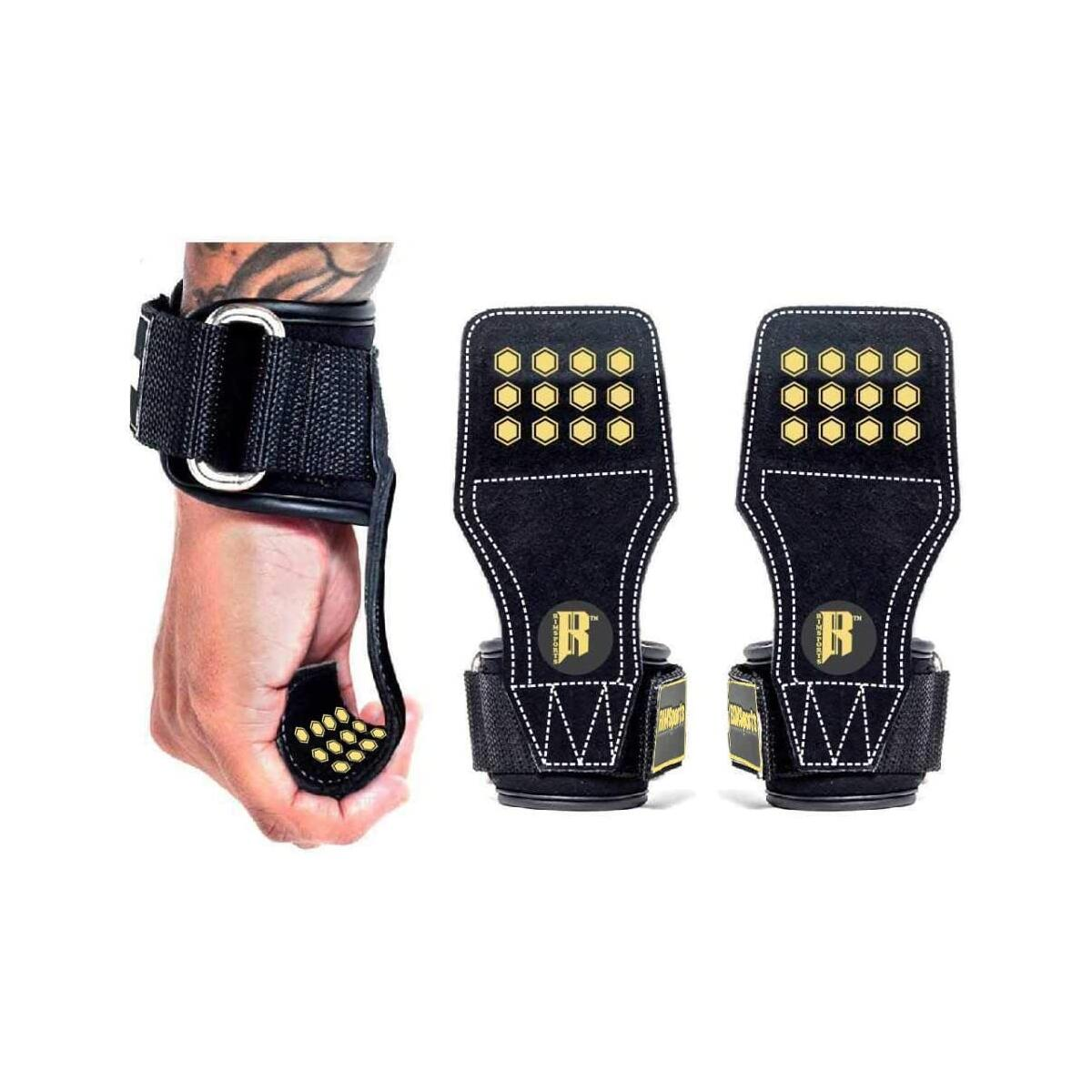 Weight Lifting Grips with Wrist Straps, Weight Lifting Straps with Grip for Deadlifts, Lifting Grips Alternative to Power Hooks, Weight lifting Gloves with Neoprene Padded Wrist Wraps (Gold)