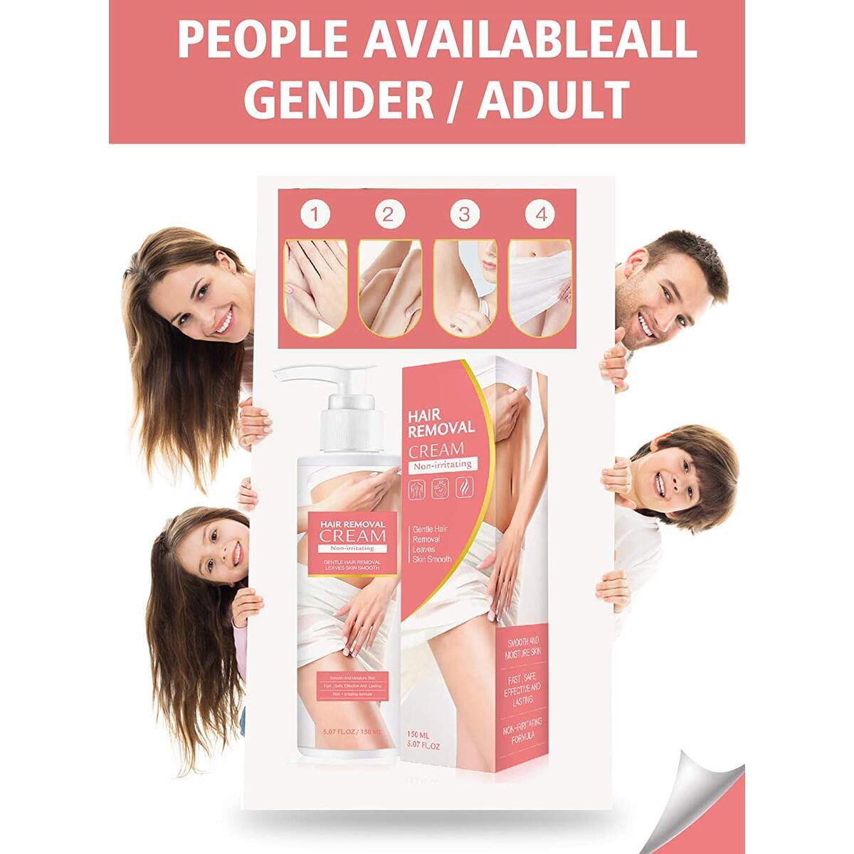 IALUKA Hair Removal Cream, 150ml Hair Remover Cream for Women and Men, Mild Ingredients, Non-Irritating Depilatory Cream for Bikini, Arm, Leg,and Armpit